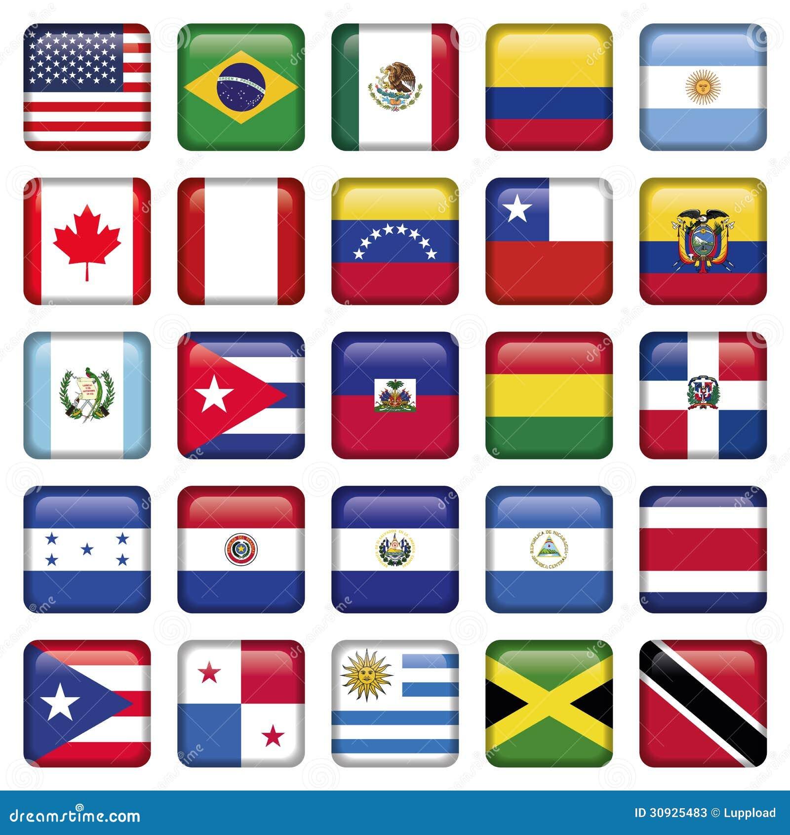 Las banderas americanas ajustaron iconos fotos de archivo - Fotos banera ...