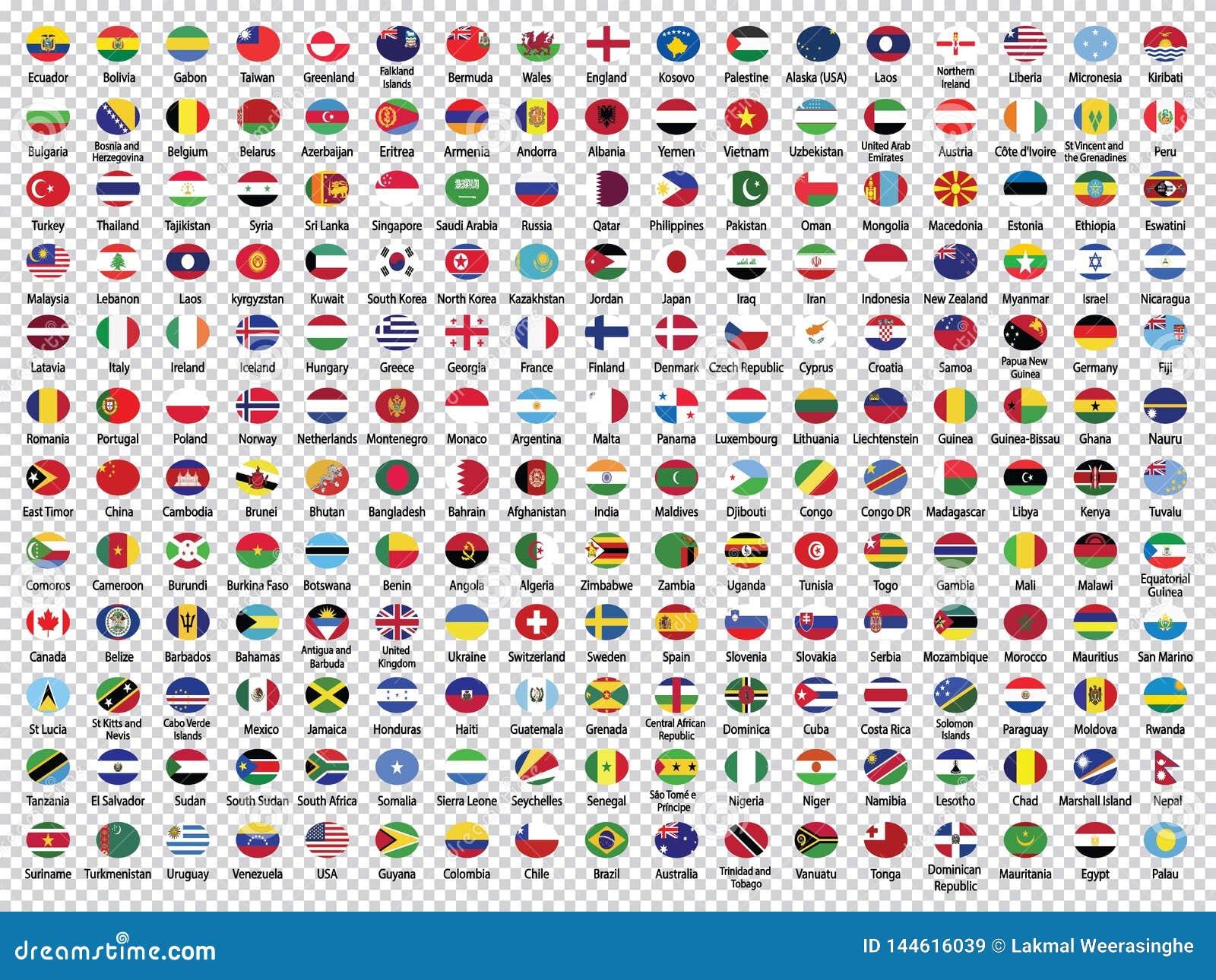 Las banderas del mundo Colección-redondearon banderas
