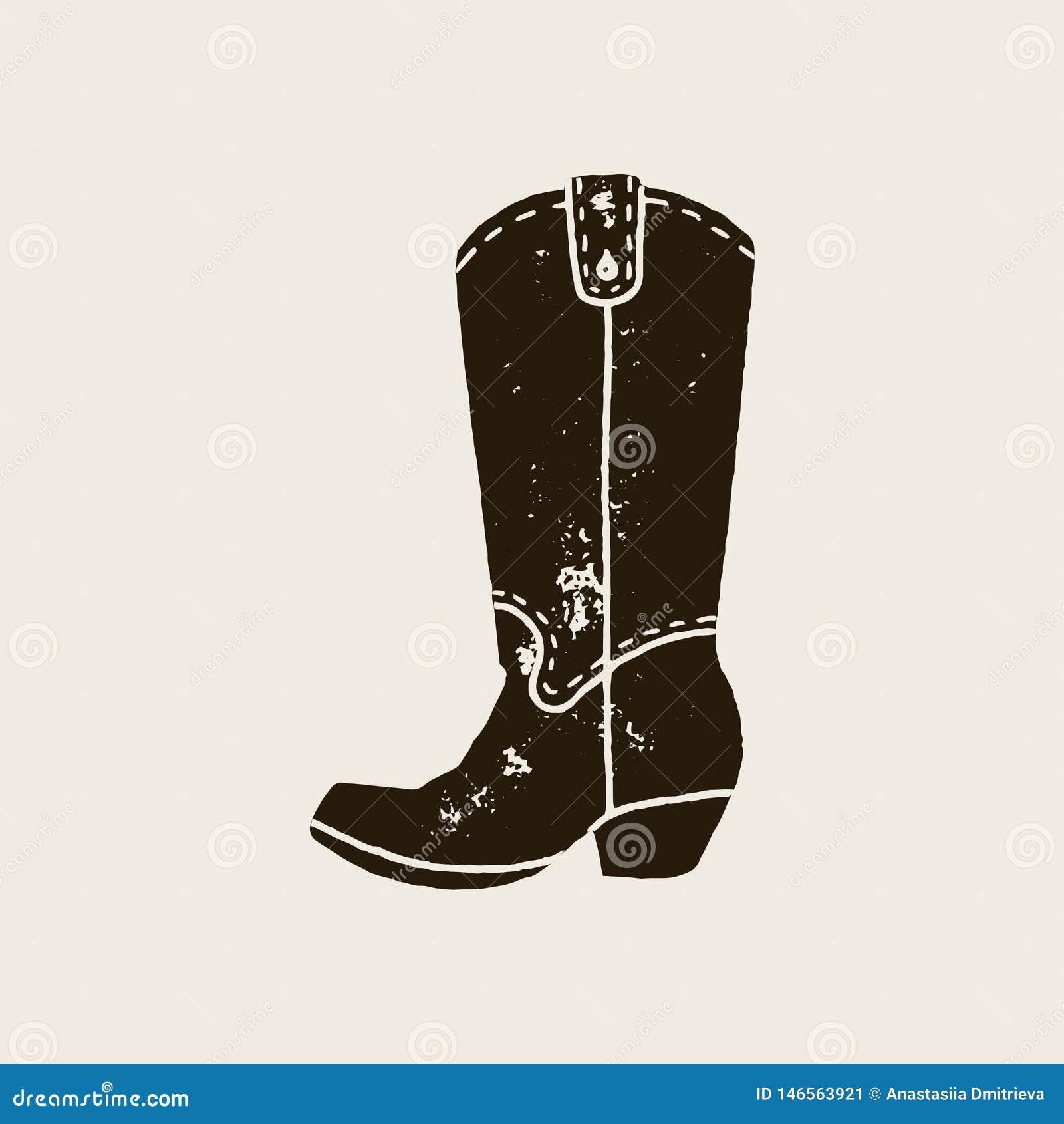 Las botas de vaquero siluetean en estilo retro
