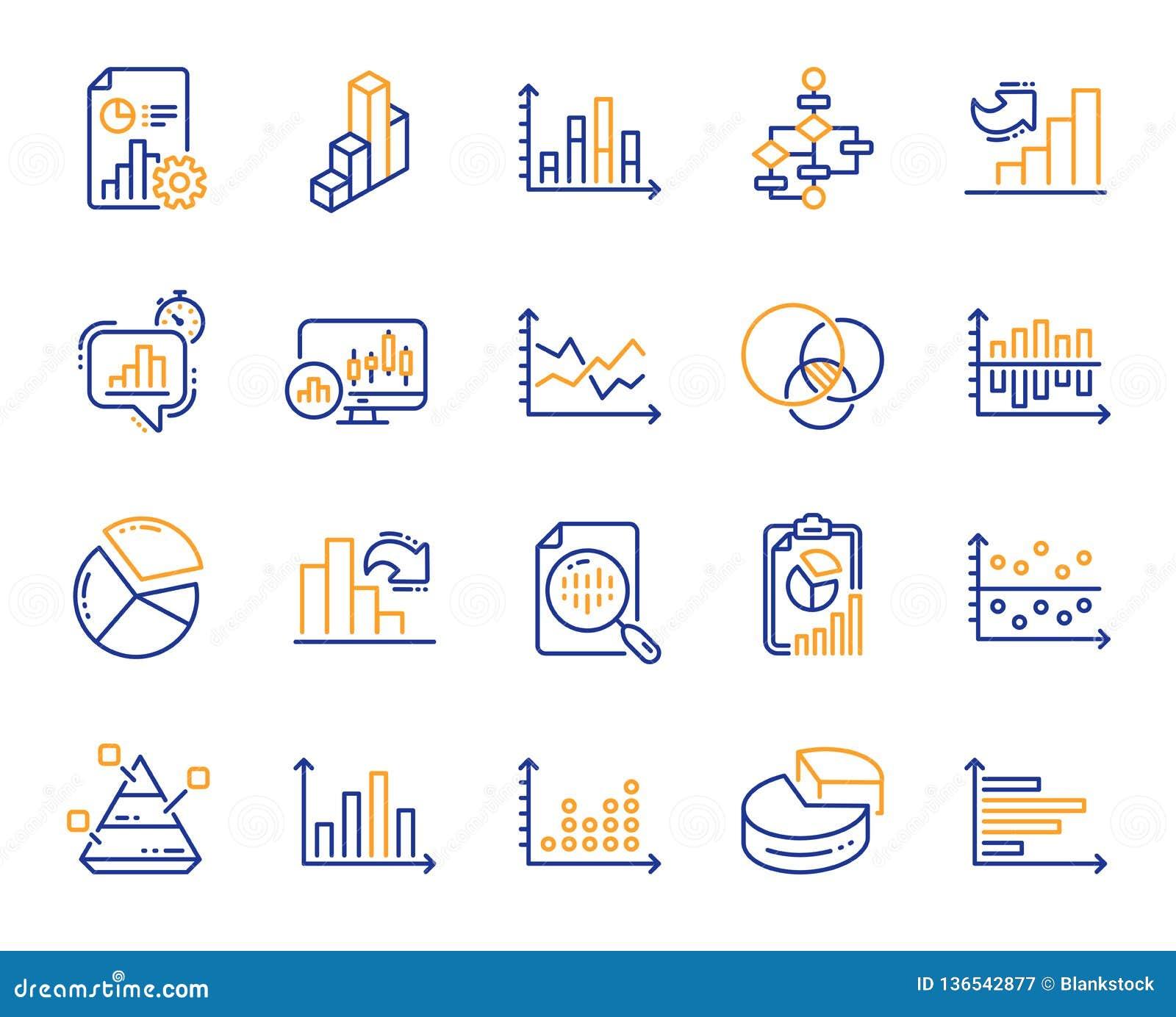 Las cartas y los diagramas alinean iconos Fije la carta 3D, bloque diagrama y los iconos del gráfico de Dot Plot Vector