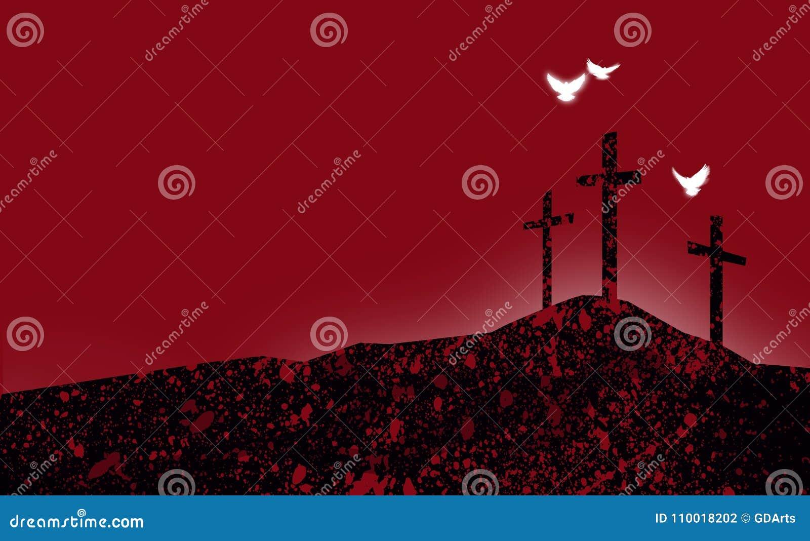 Las Cruces Cristianas Gráficas De Jesús Resumen Paisaje Con Spiri ...