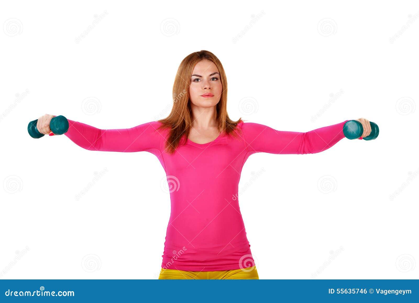 Las deportistas hacen ejercicios con pesas de gimnasia for Ejercicios de gimnasia