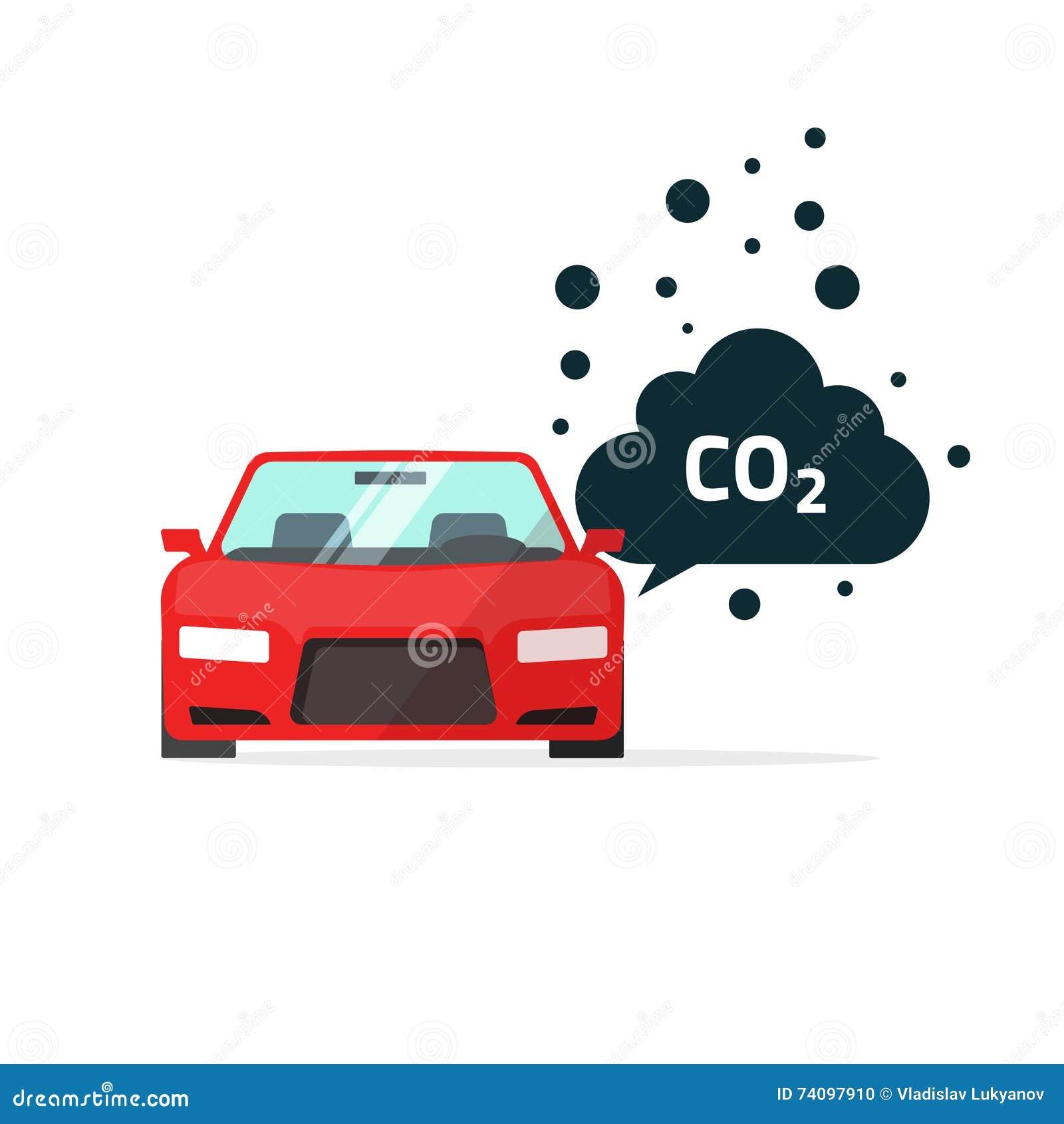 Contaminación Del CO2 Del Dióxido De Carbono Del Coche Ilustración ...