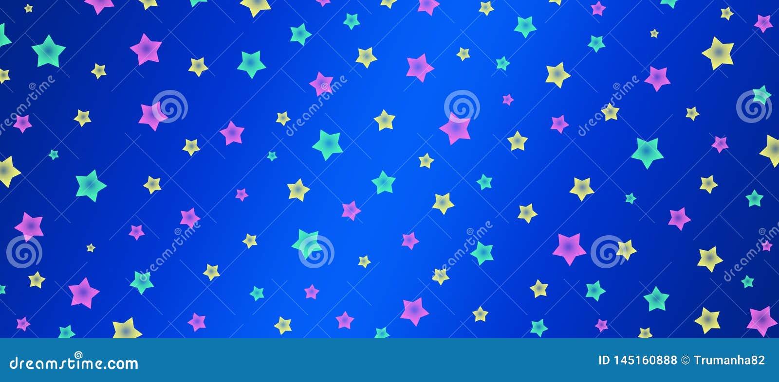 Las estrellas del rosa, verdes y amarillas modelan en bandera azul del fondo