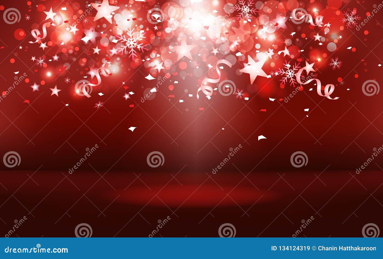 Las estrellas fugaces rojas de la etapa que caen con el confeti de papel celebran, los copos de nieve y polvo, festival brillante