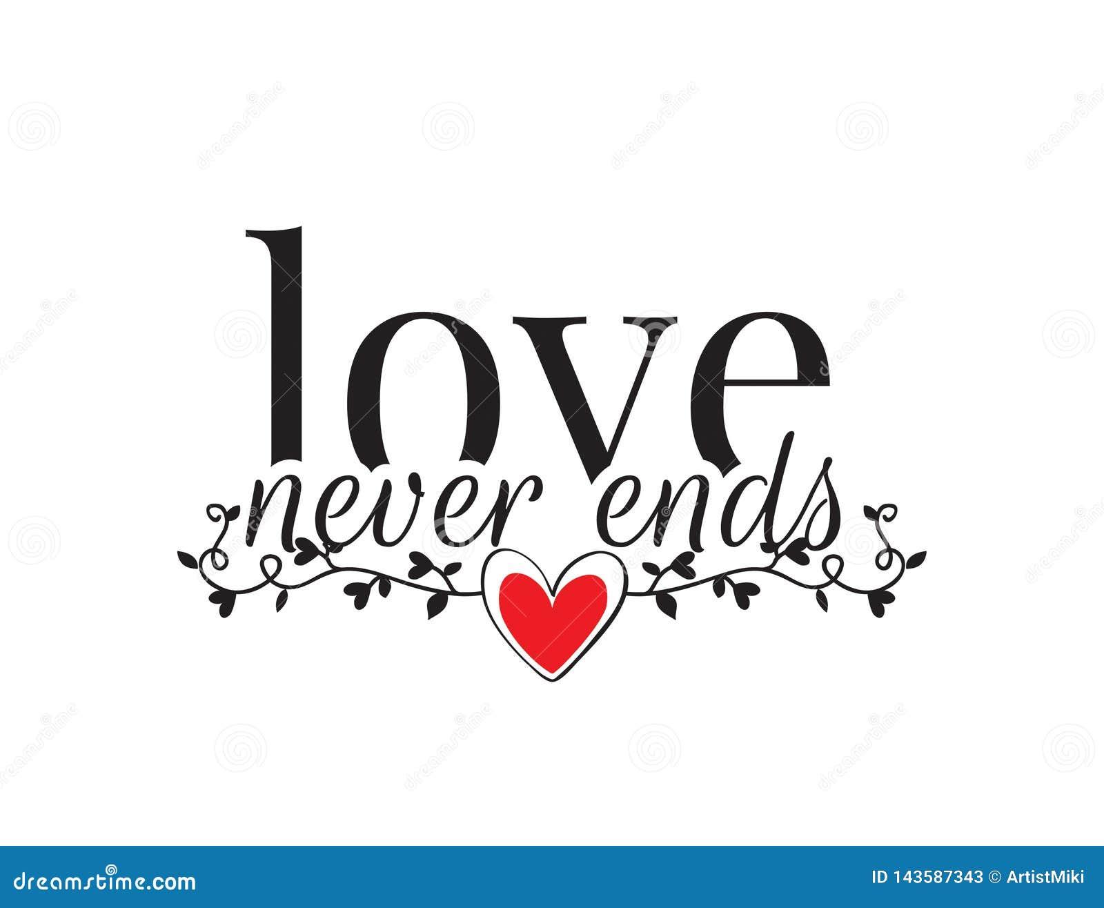 Las etiquetas de la pared, amor nunca terminan, redactando diseño, las citas del amor, el poner letras aislado en el fondo blanco