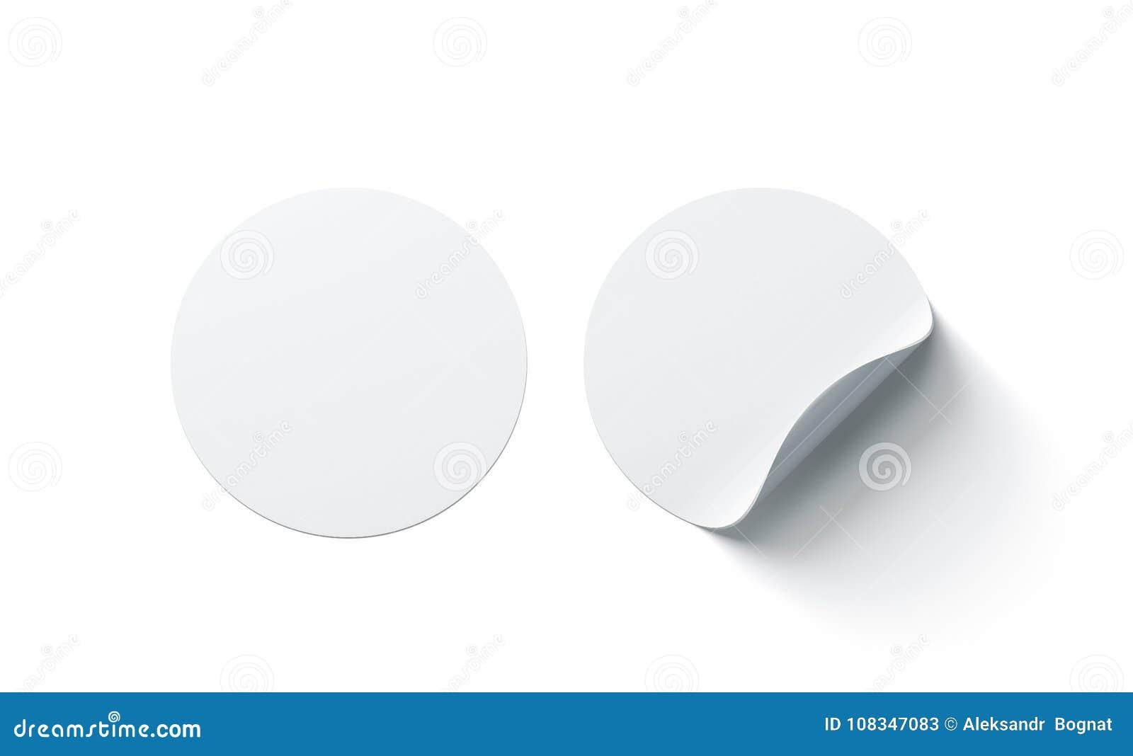 Las etiquetas engomadas adhesivas redondas blancas en blanco imitan para arriba con la esquina curvada