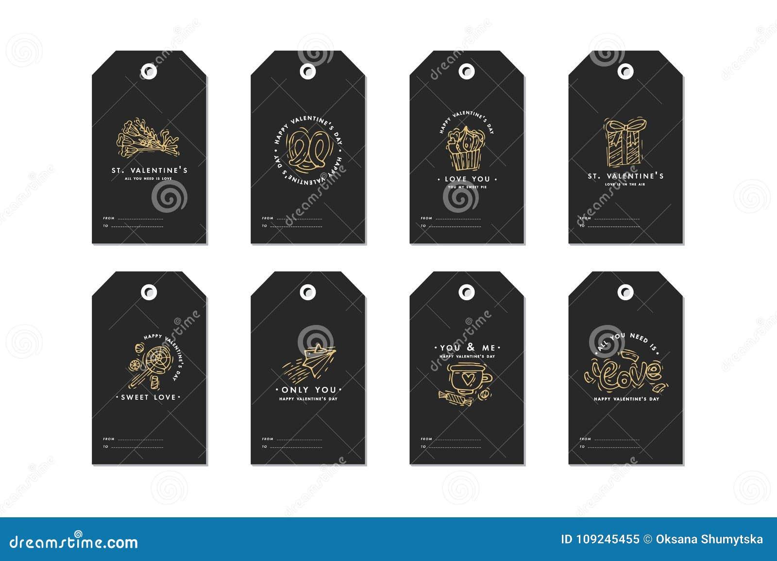 Las etiquetas felices del día de tarjetas del día de San Valentín fijaron con saludos de la tipografía y el icono de oro Citas de
