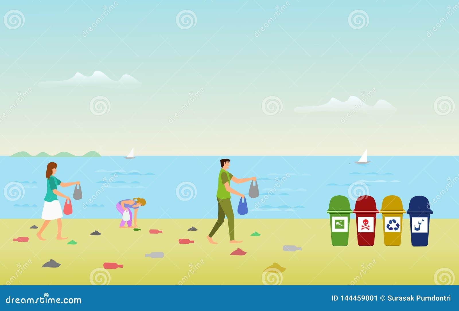 Las familias de los padres están ayudando a recoger la ruina en la playa para dejar la basura