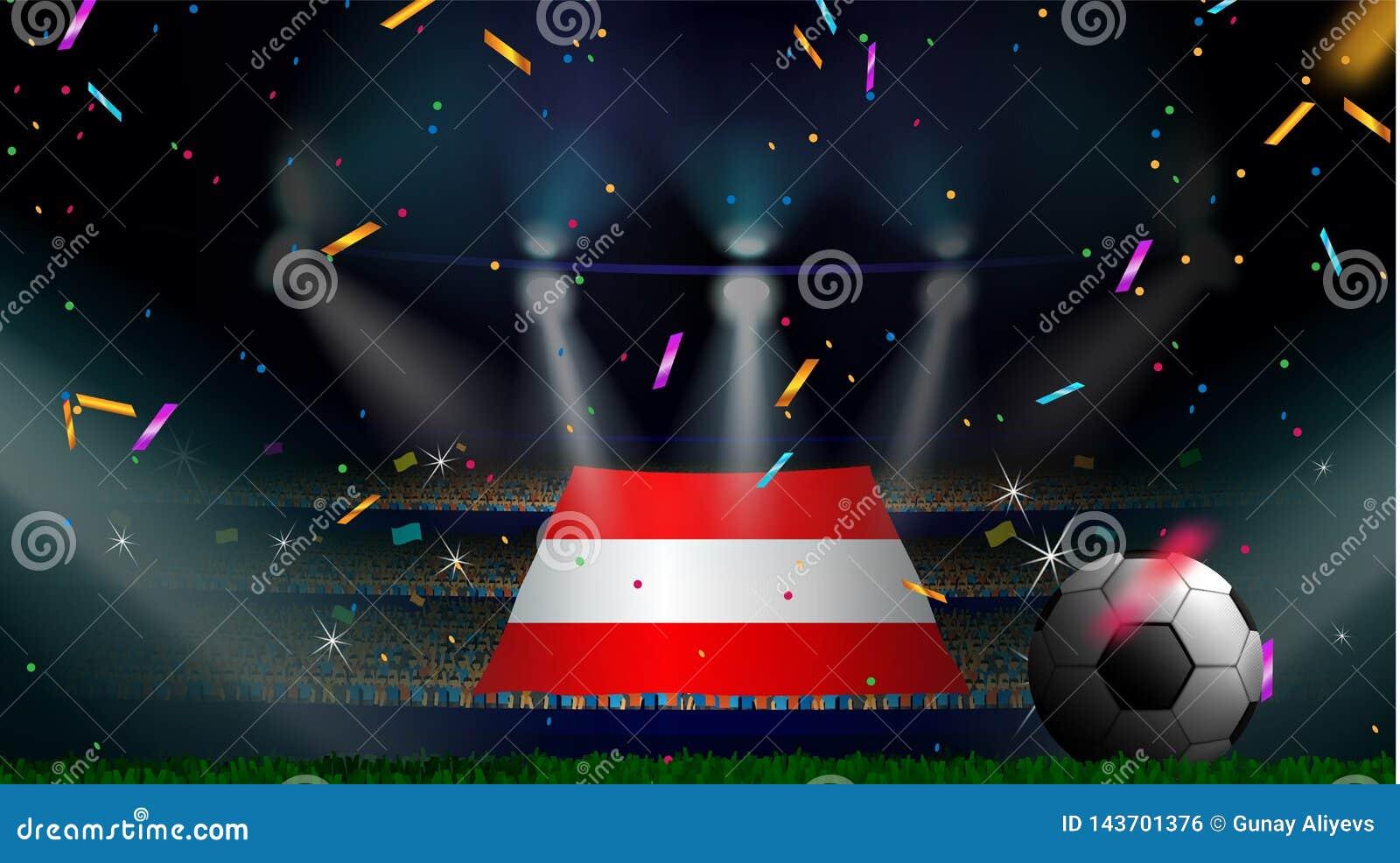 Las fans sostienen la bandera de Austria entre la silueta de la audiencia de la muchedumbre en estadio de fútbol con confeti para