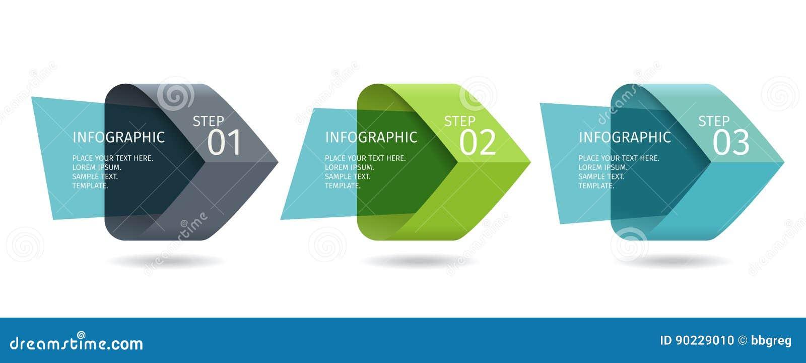 Las flechas de Infographic con 3 intensifican opciones y los elementos de cristal Plantilla del vector en estilo plano del diseño