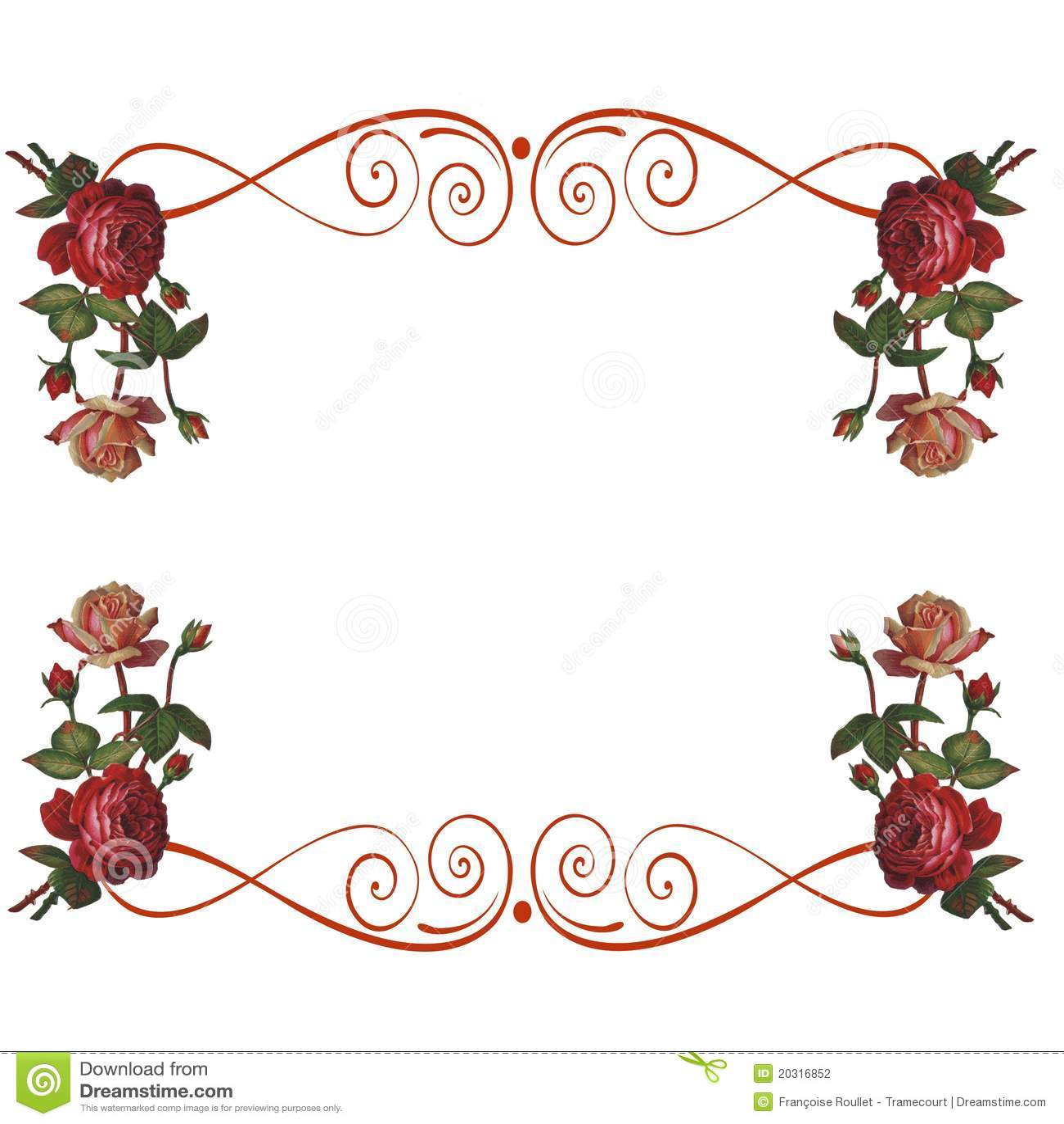 Las Flores De Las Rosas Enmarcan El Fondo Stock de ilustración ...