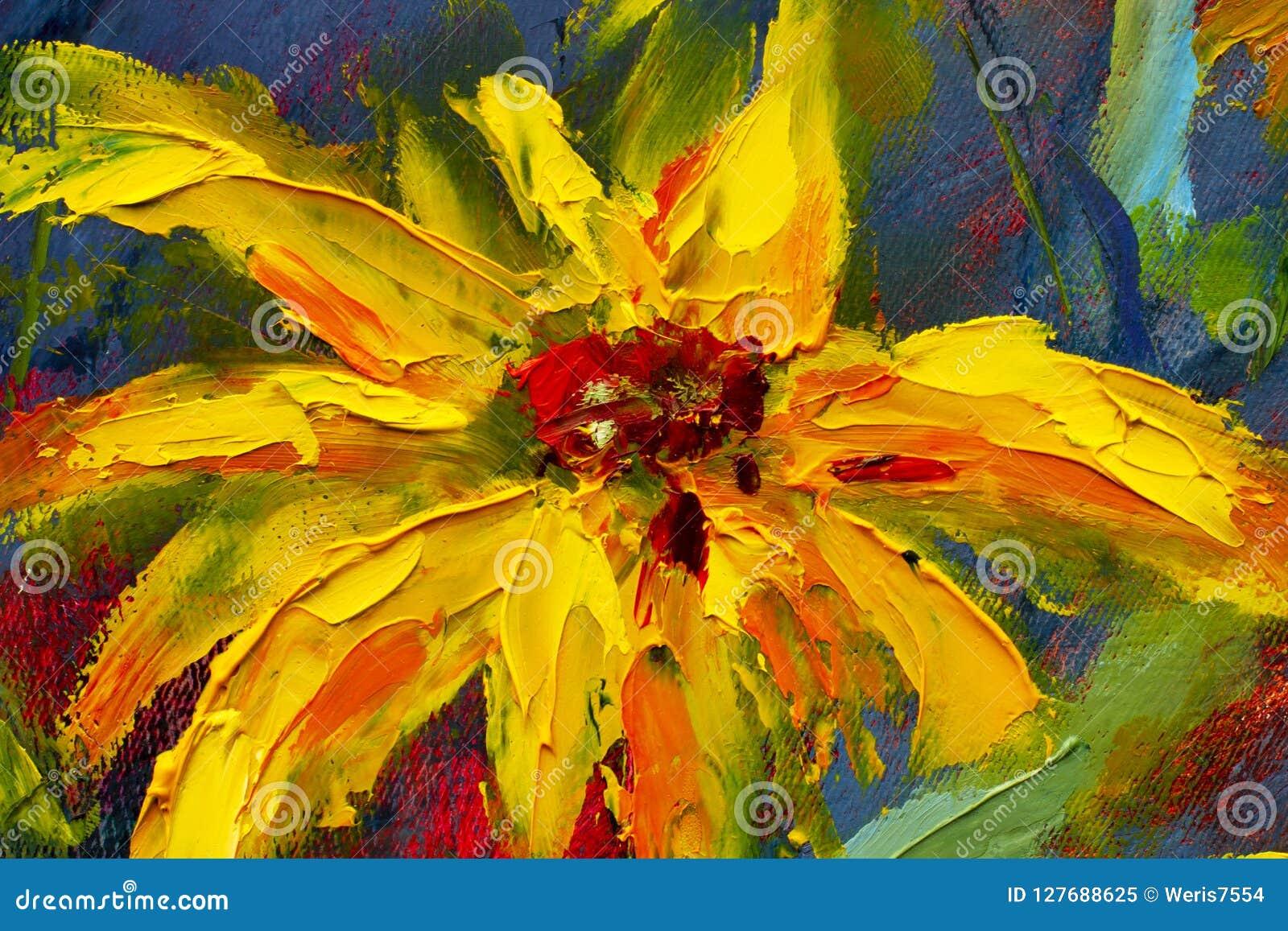 Las flores que pintan, margaritas amarillas de las flores salvajes, girasoles anaranjados en un fondo azul, pinturas al óleo ajar