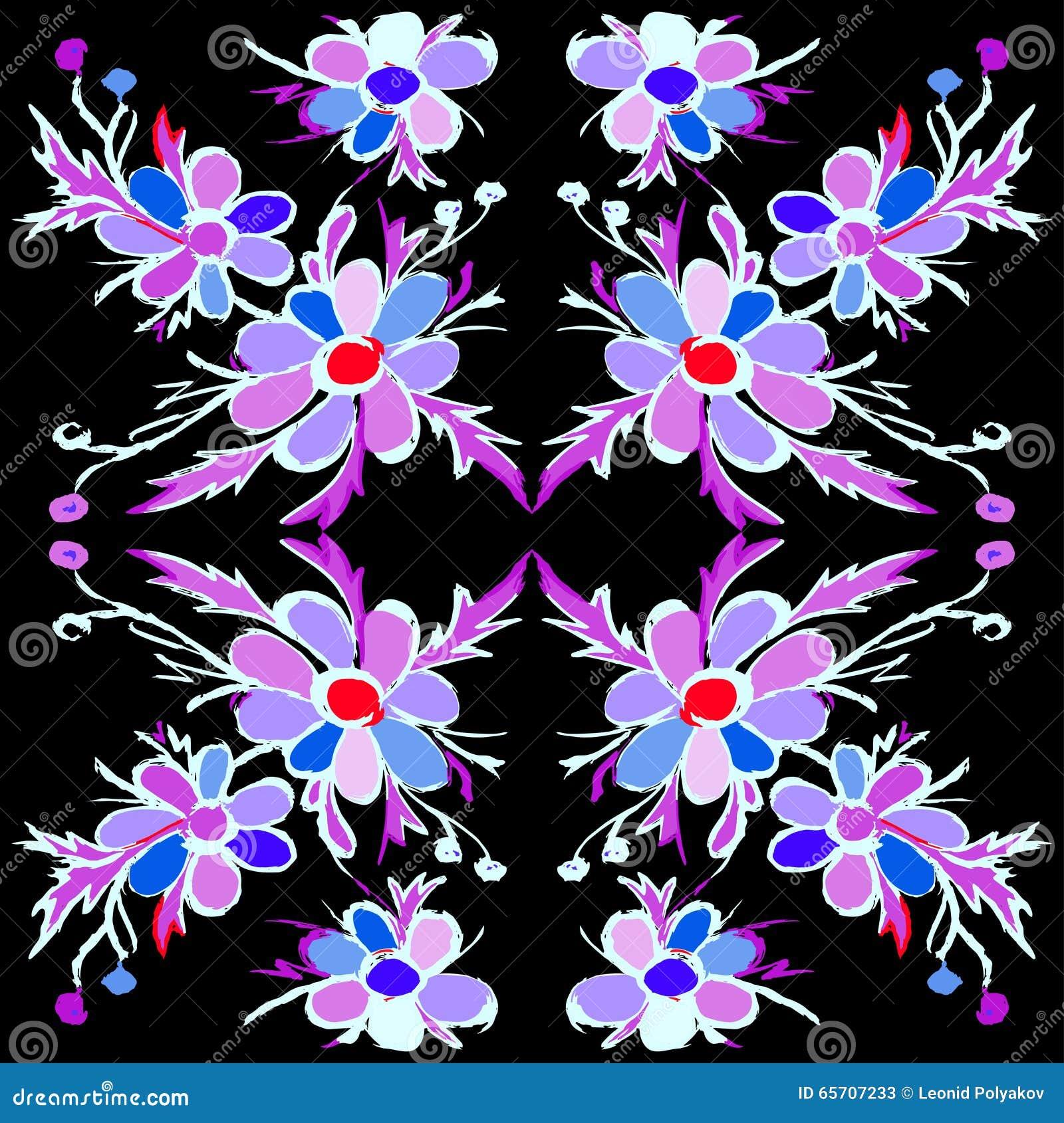 Las flores violetas abstractas en un fondo negro vector el ejemplo