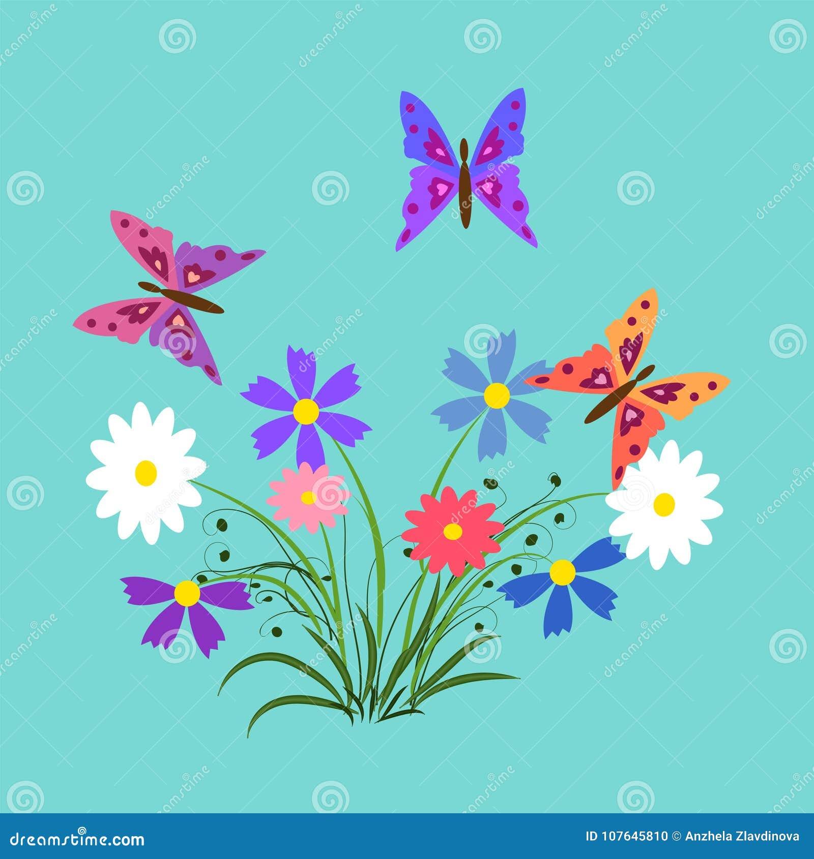 las flores y las mariposas ilustraci u00f3n elementos para las
