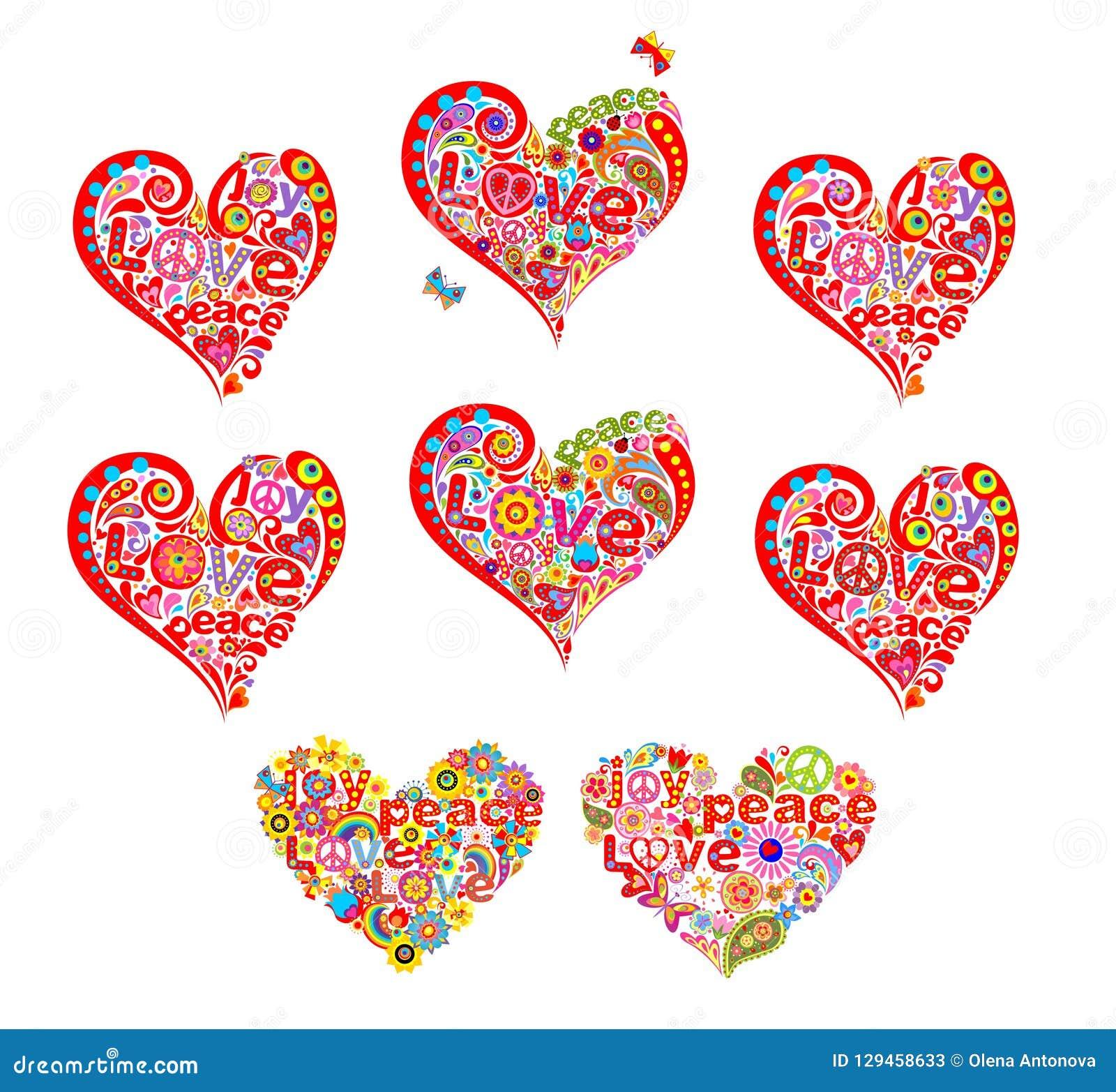 Las formas del corazón fijadas para el hippie de la camiseta diseñan con las flores abstractas, símbolo de paz del hippie y palab