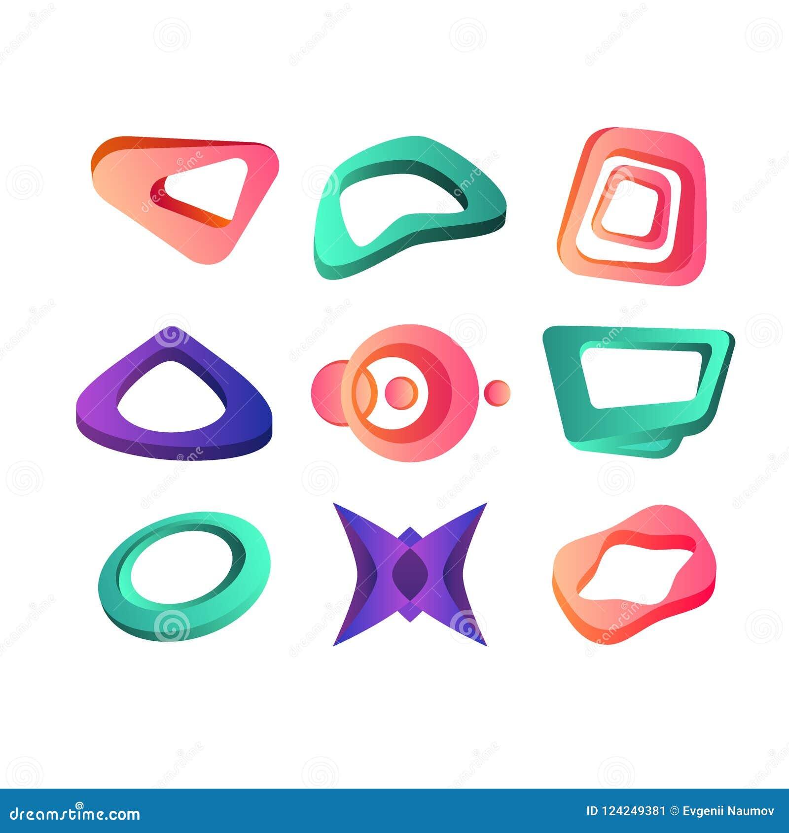 ead04b0b0 Las formas geométricas abstractas creativas modernas fijaron, las  plantillas del color para el cartel,