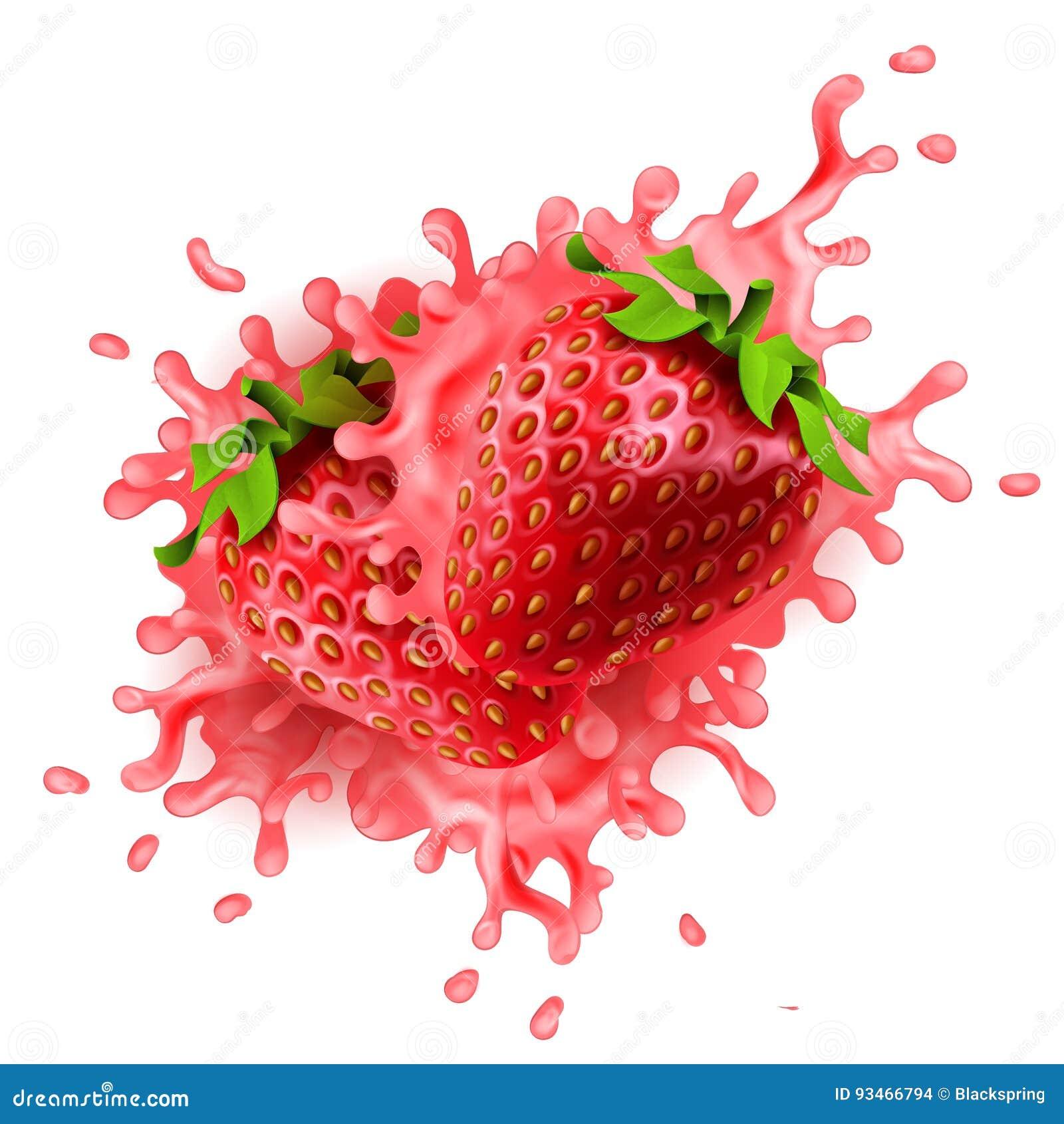 Las fresas realistas con el yogur coloreado rosa salpican