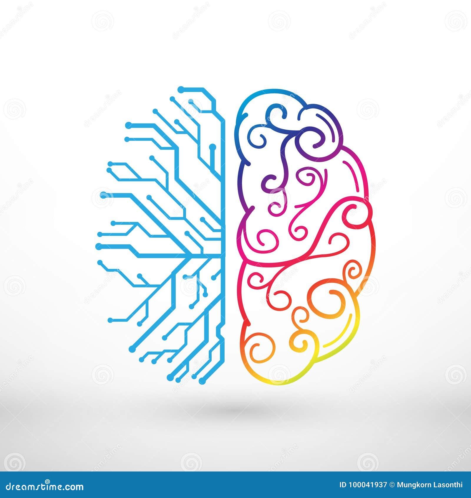 Las líneas abstractas cerebro izquierdo y derecho funcionan concepto