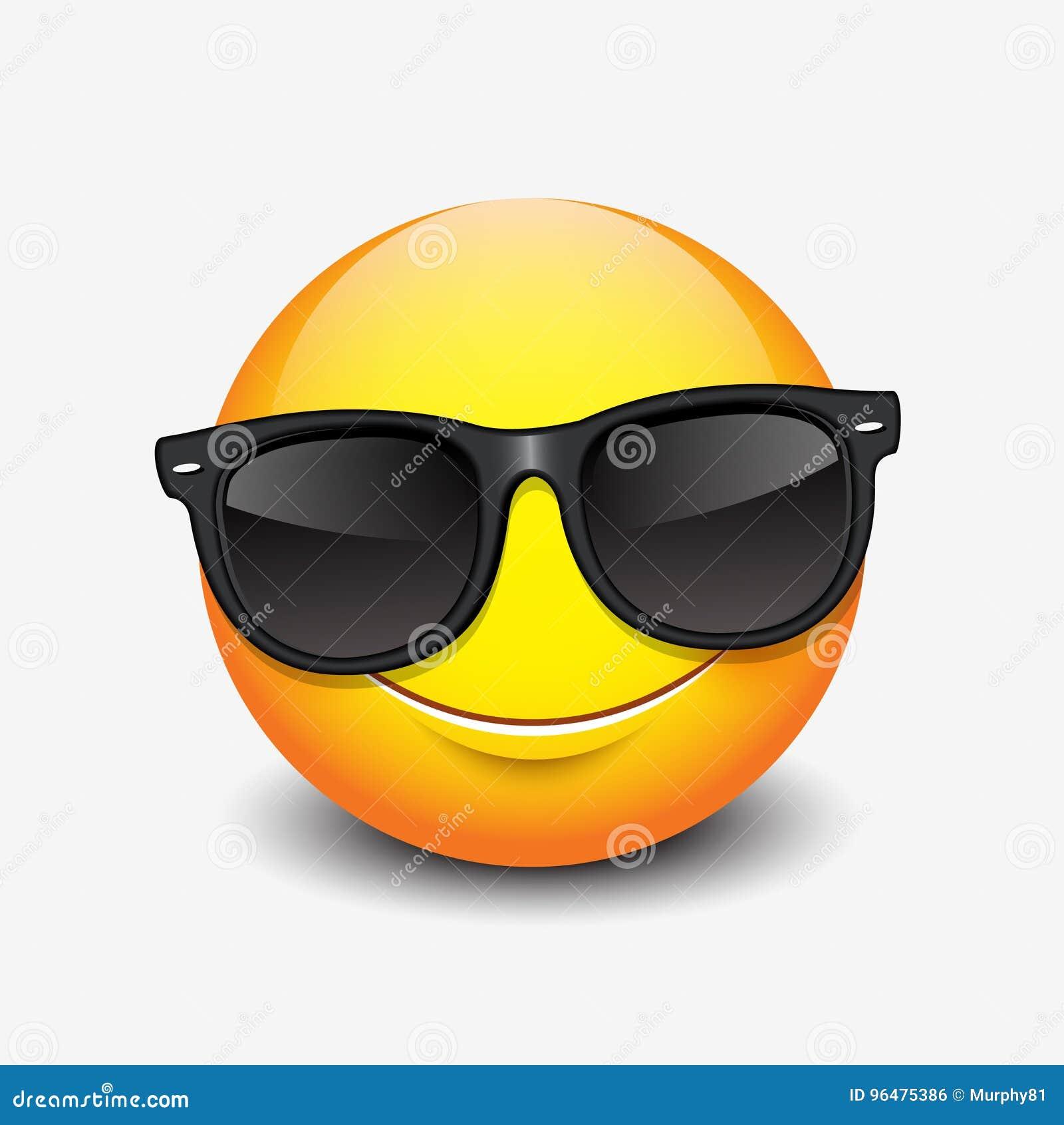 Las lentes de sol negros que llevan sonrientes lindas del - Emoticono gafas de sol ...