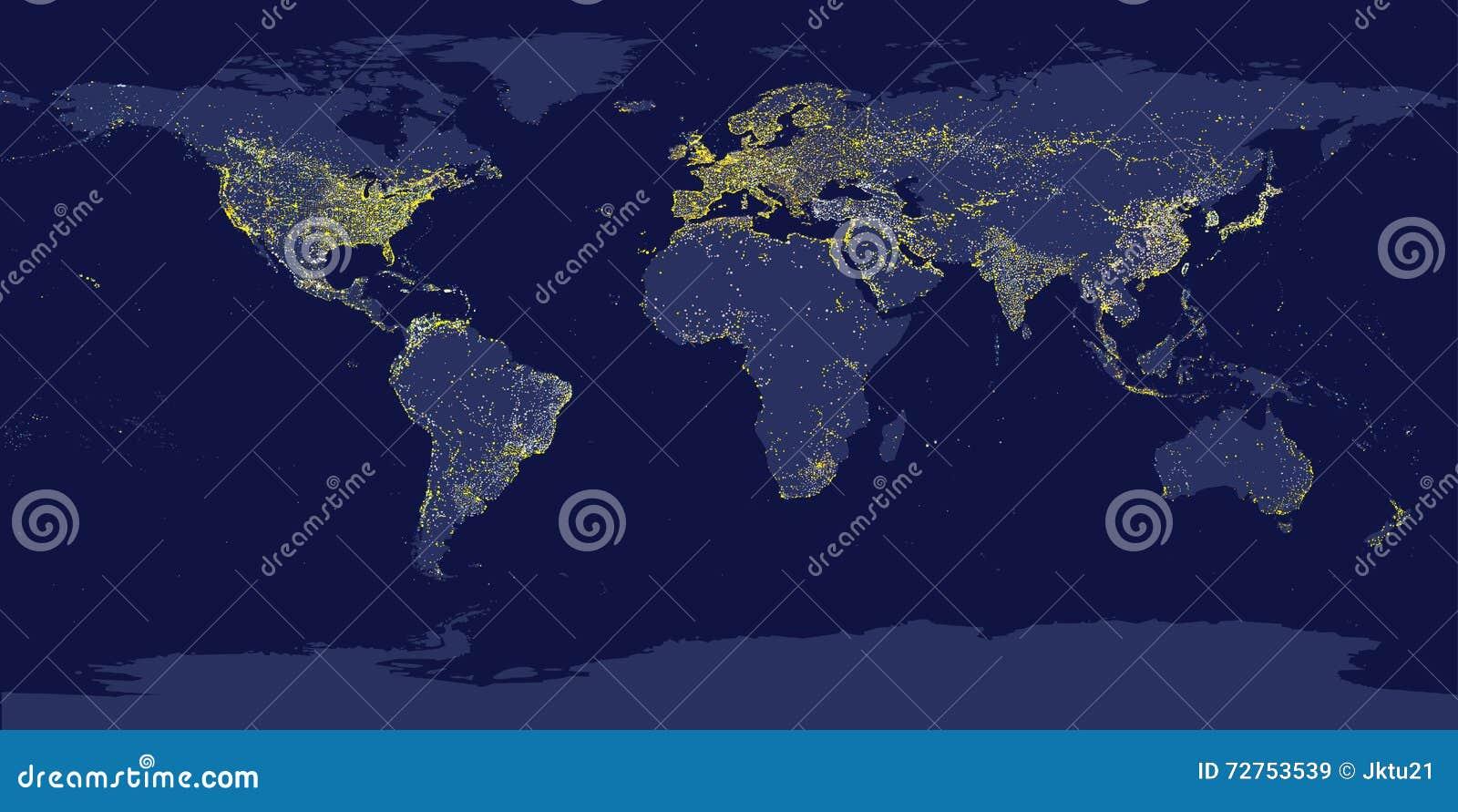 Las luces de la ciudad de la tierra trazan con las siluetas de continentes