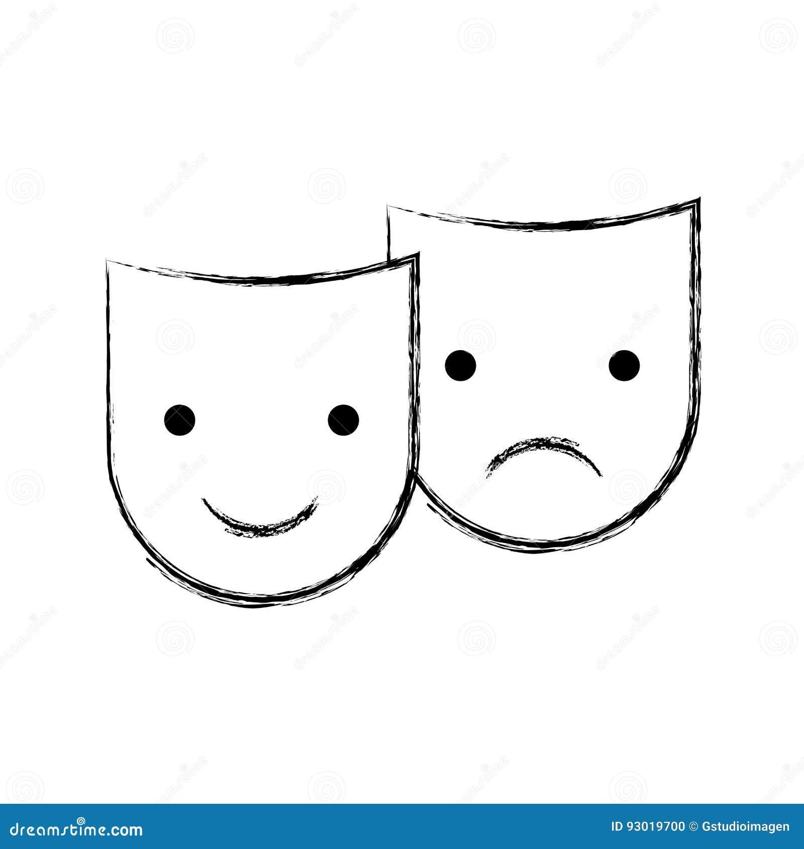 Las Máscaras Del Teatro Aislaron El Icono Ilustración del Vector ... 8982d1b4b13