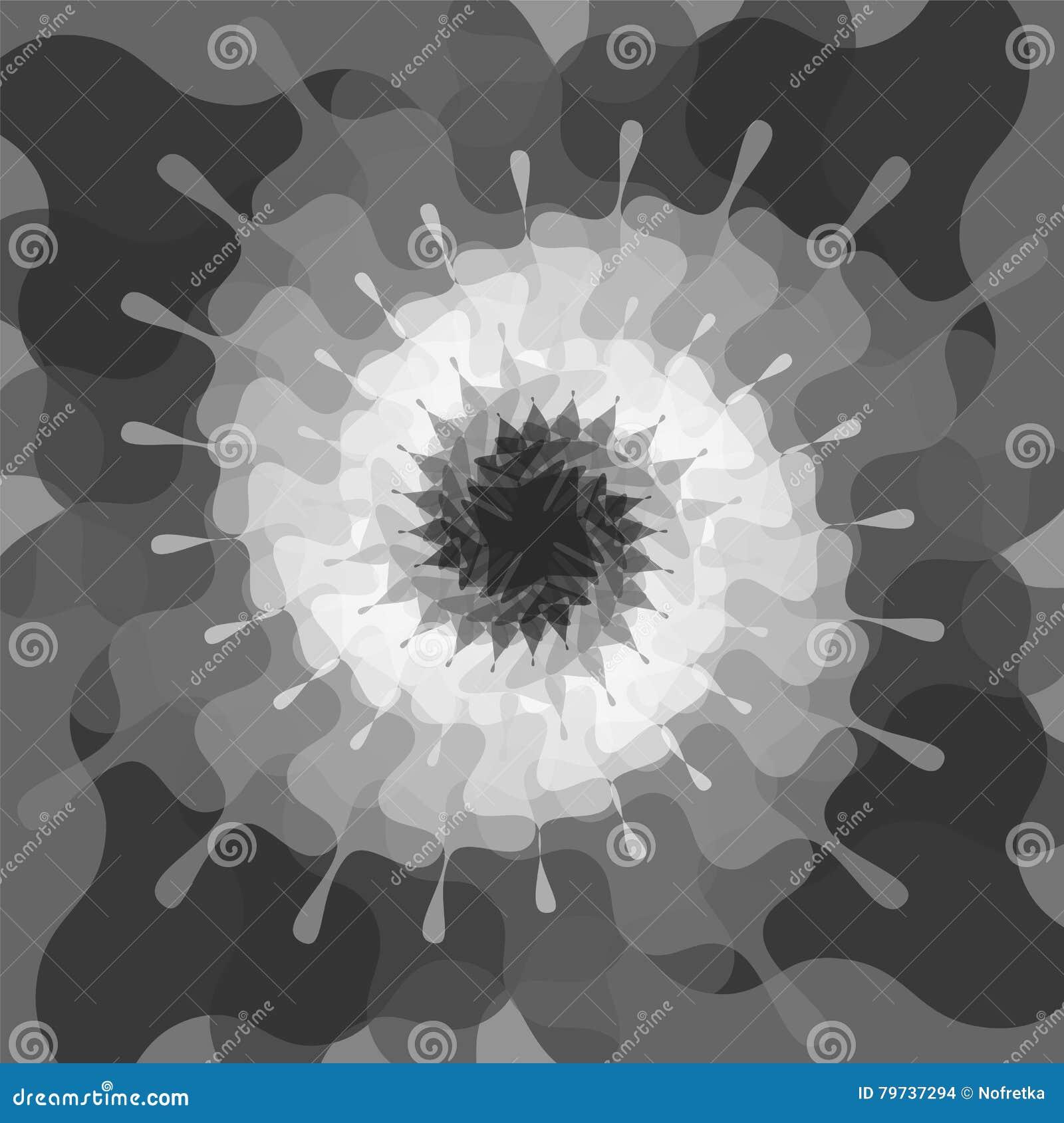 Las manchas blancas /negras traslapadas transparentes monocromáticas torcieron en los espirales que brillaban intensamente de osc