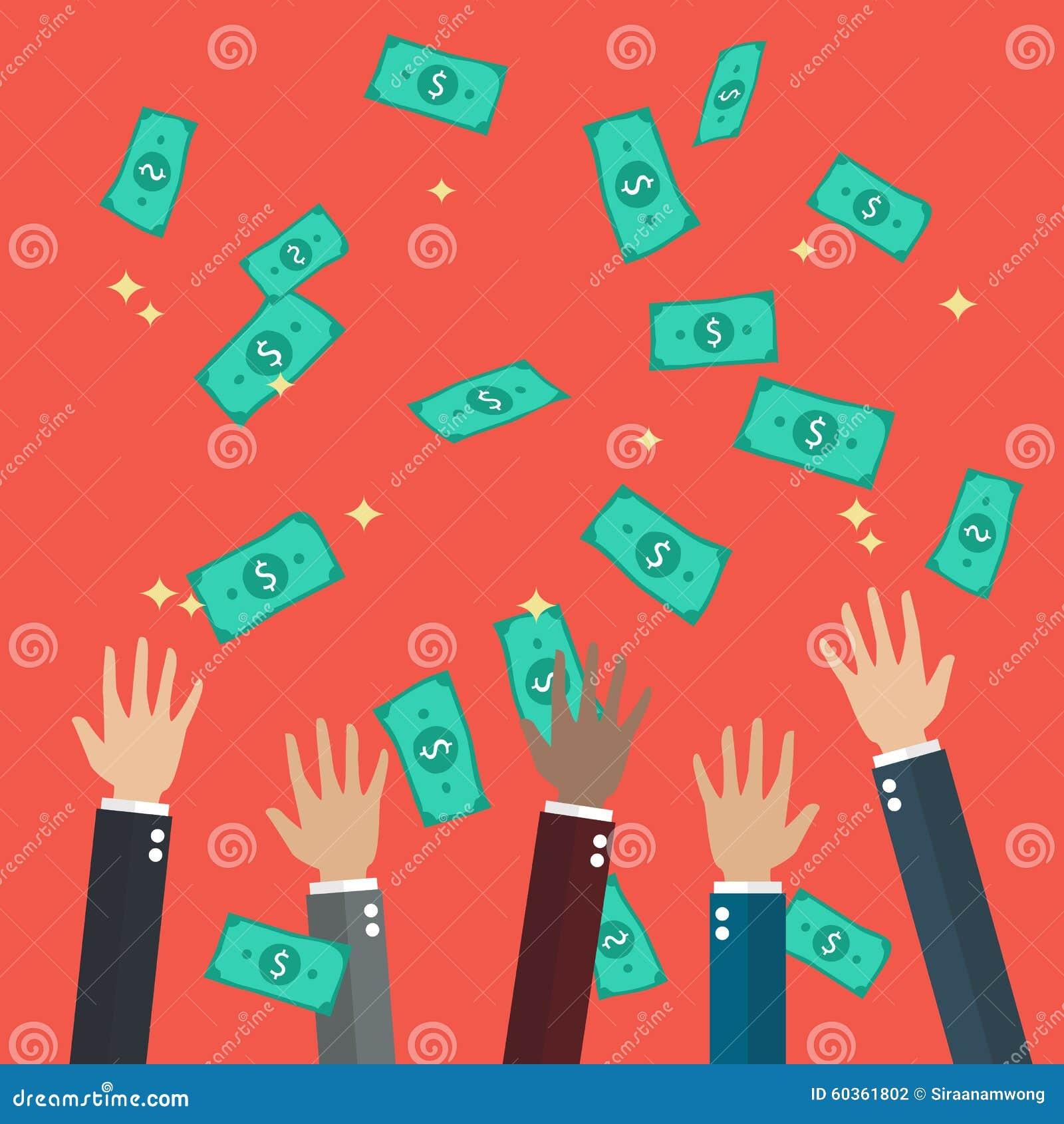 Las manos aumentaron el dinero que lanzaba y de cogida en el aire