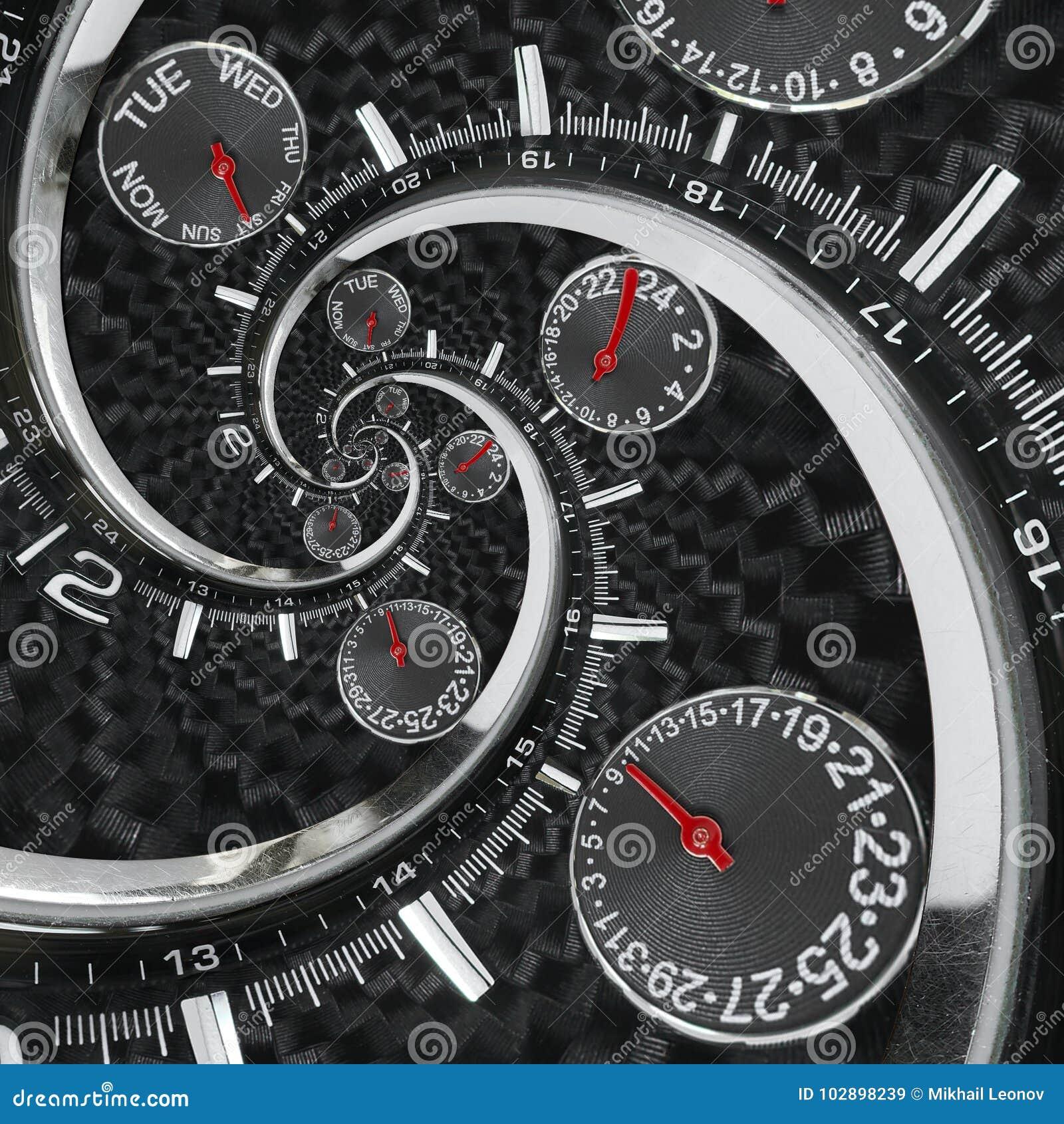 Las manos de reloj rojas negras de plata modernas del reloj de reloj de la moda torcieron al espiral surrealista del tiempo Abstr