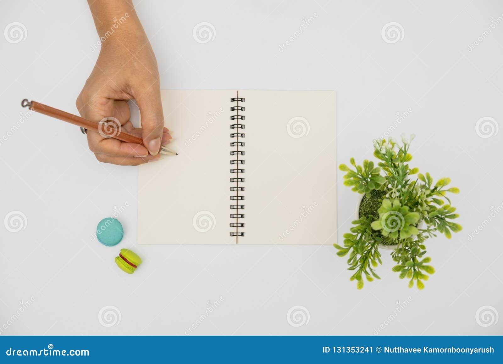 Las manos están escribiendo en el libro