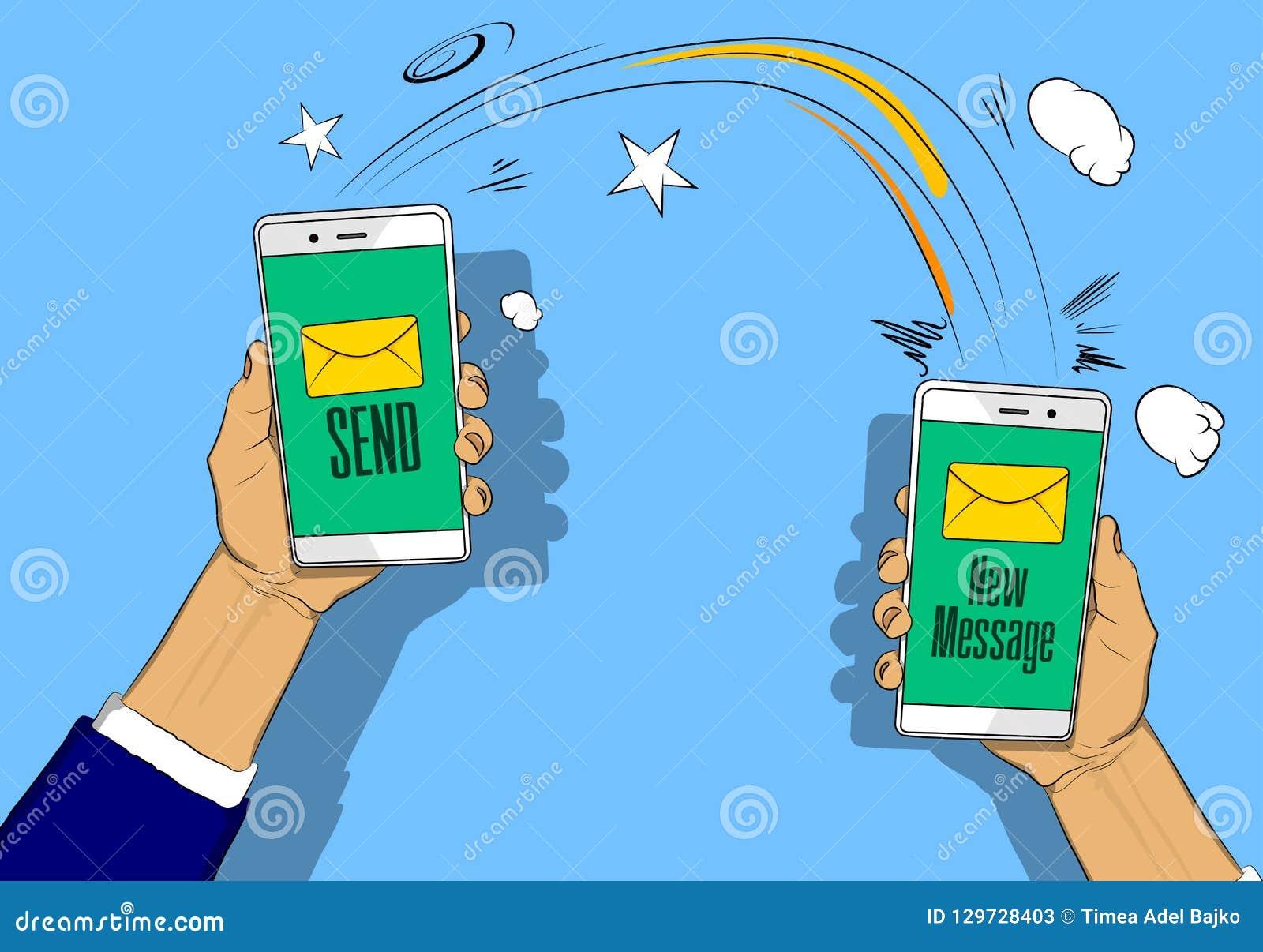 Las manos que sostienen los teléfonos con la letra, envían y nuevo botón del mensaje en la pantalla