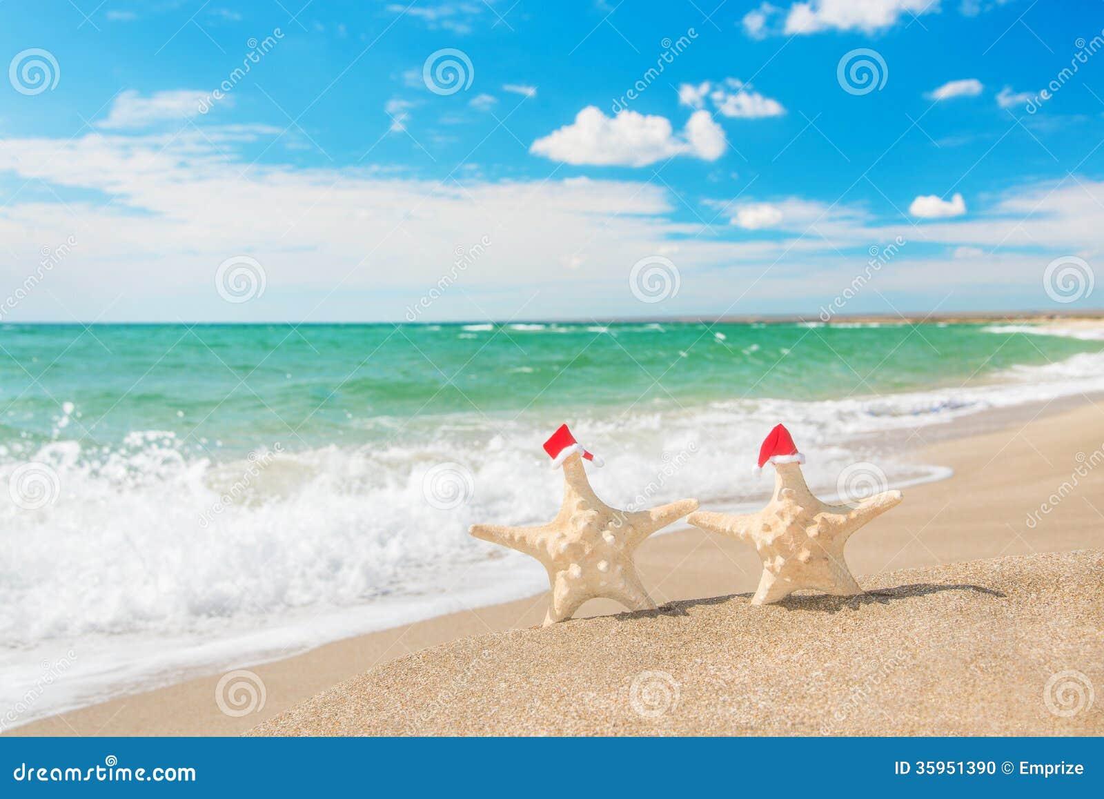 Las Mar-estrellas se juntan en los sombreros de santa que caminan en la playa del mar
