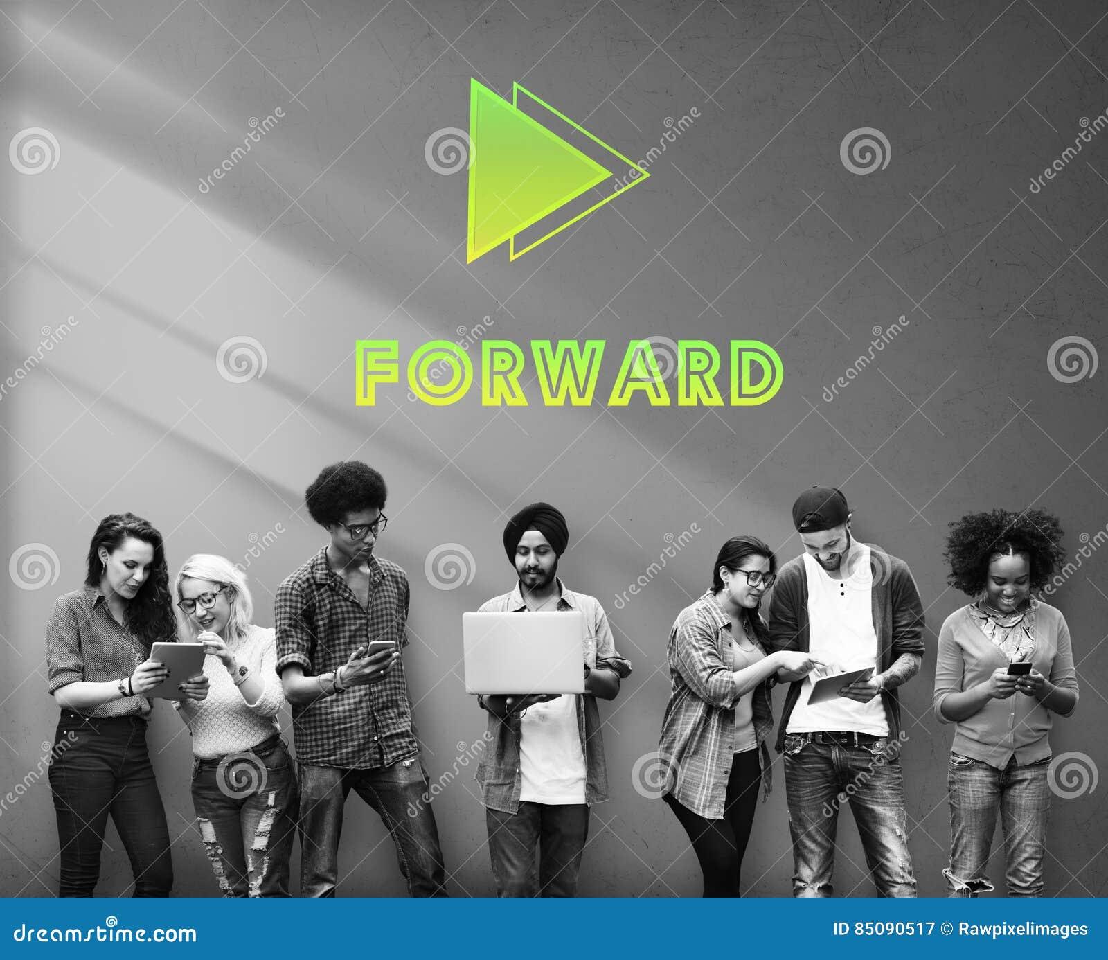 Las metas apuntan concepto delantero de la misión del éxito de la positividad