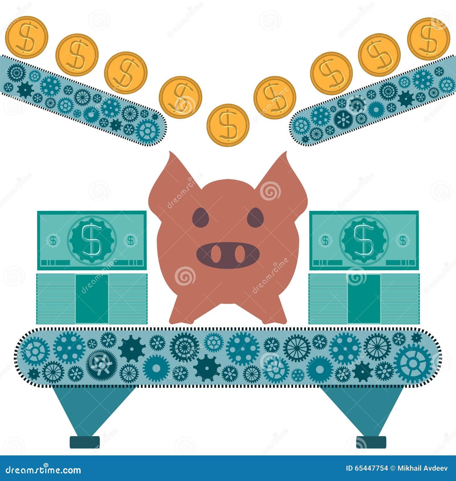 Las monedas del dólar del oro están rodando a una hucha del cerdo