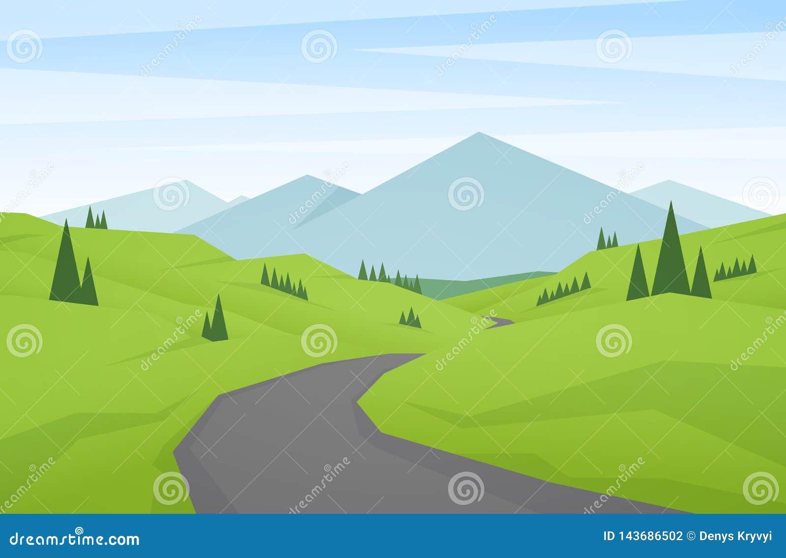 Las montañas planas del verano de la historieta ajardinan con las colinas verdes, el camino y los picos