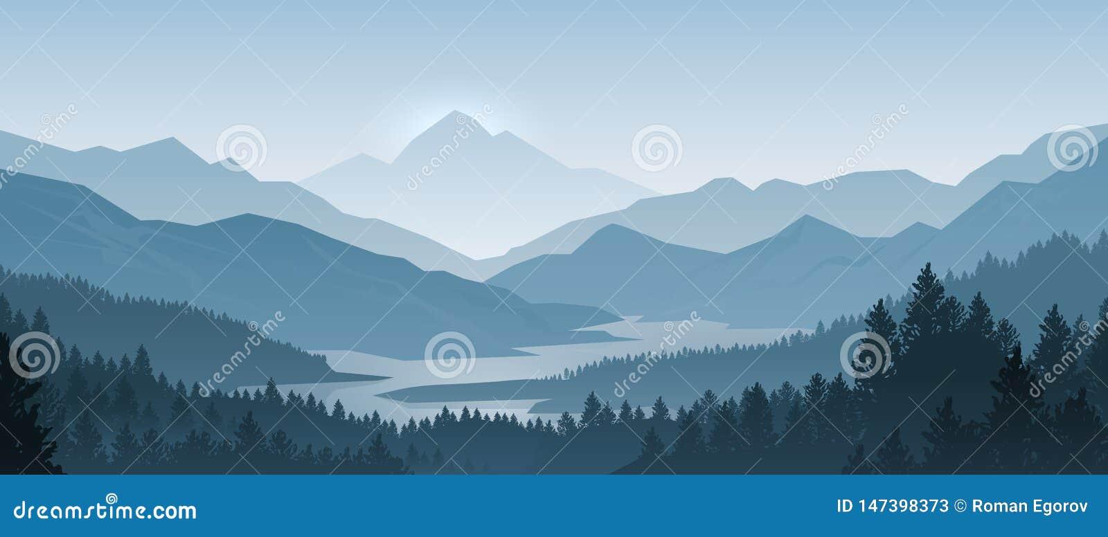 Las montañas realistas ajardinan Panorama de madera de la mañana, árboles de pino y siluetas de las montañas Vector Forest Backgr