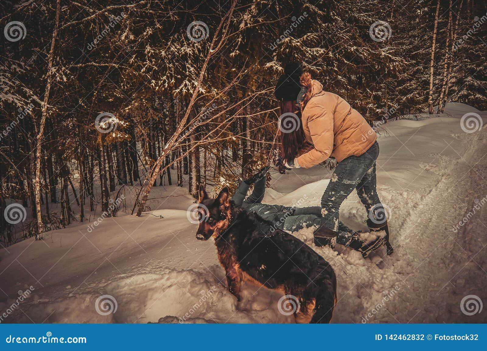 Las muchachas juegan en la nieve, el perro miran al fotógrafo en perplejidad