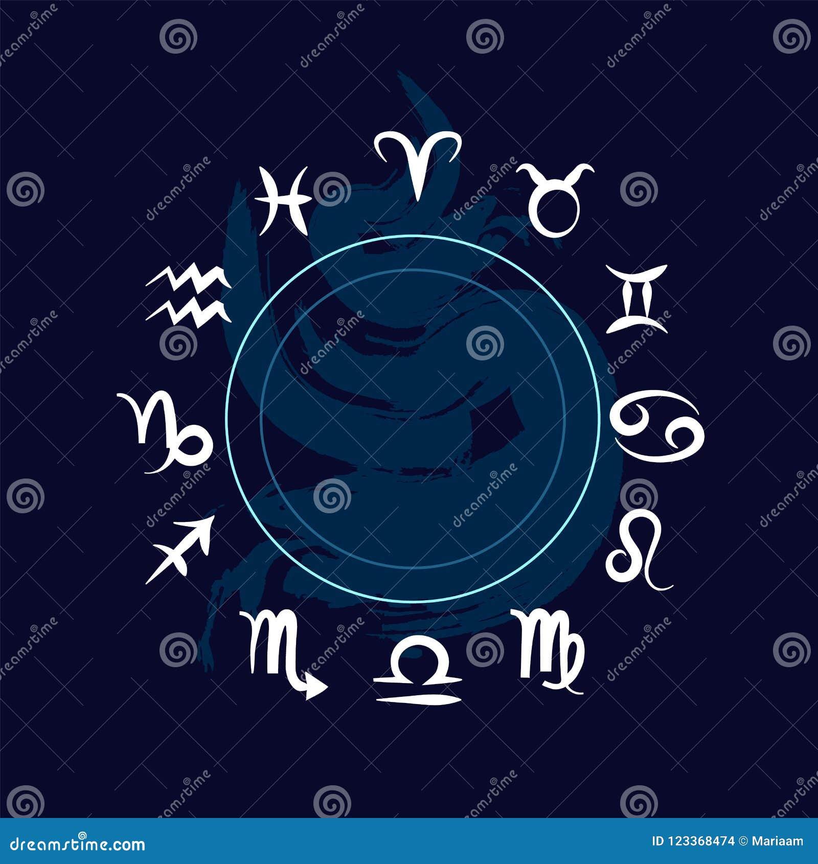 Las muestras del zodiaco Símbolos del horóscopo sobre fondo azul Diseño limpio del vector
