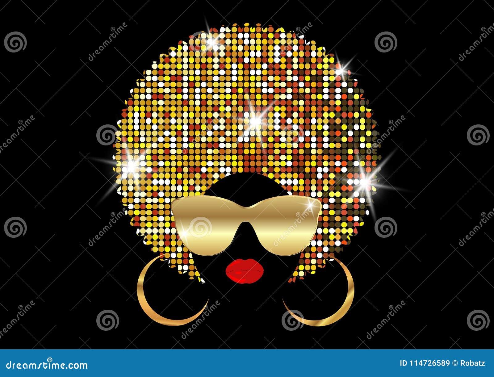 Las mujeres africanas del retrato, la cara femenina de la piel oscura con afro brillante del pelo y el oro metal las gafas de sol