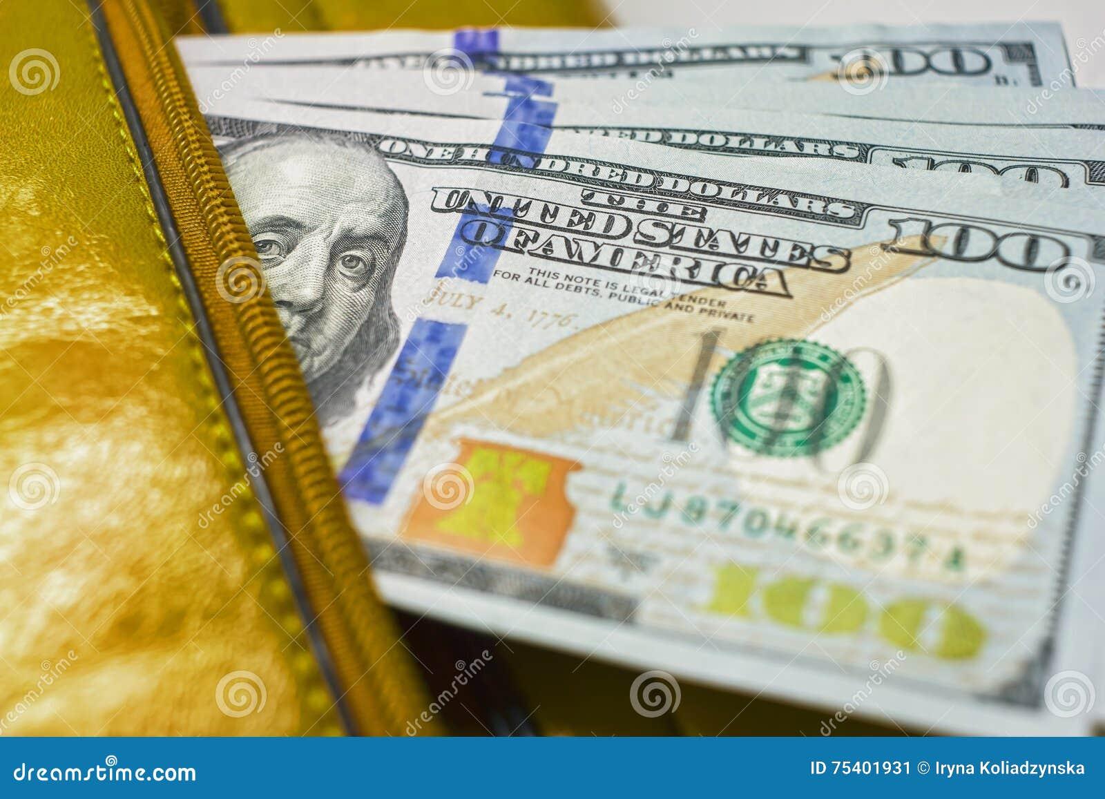 Las notas en una cartera, cuentas del dólar del ciento-dólar están en un bolso,