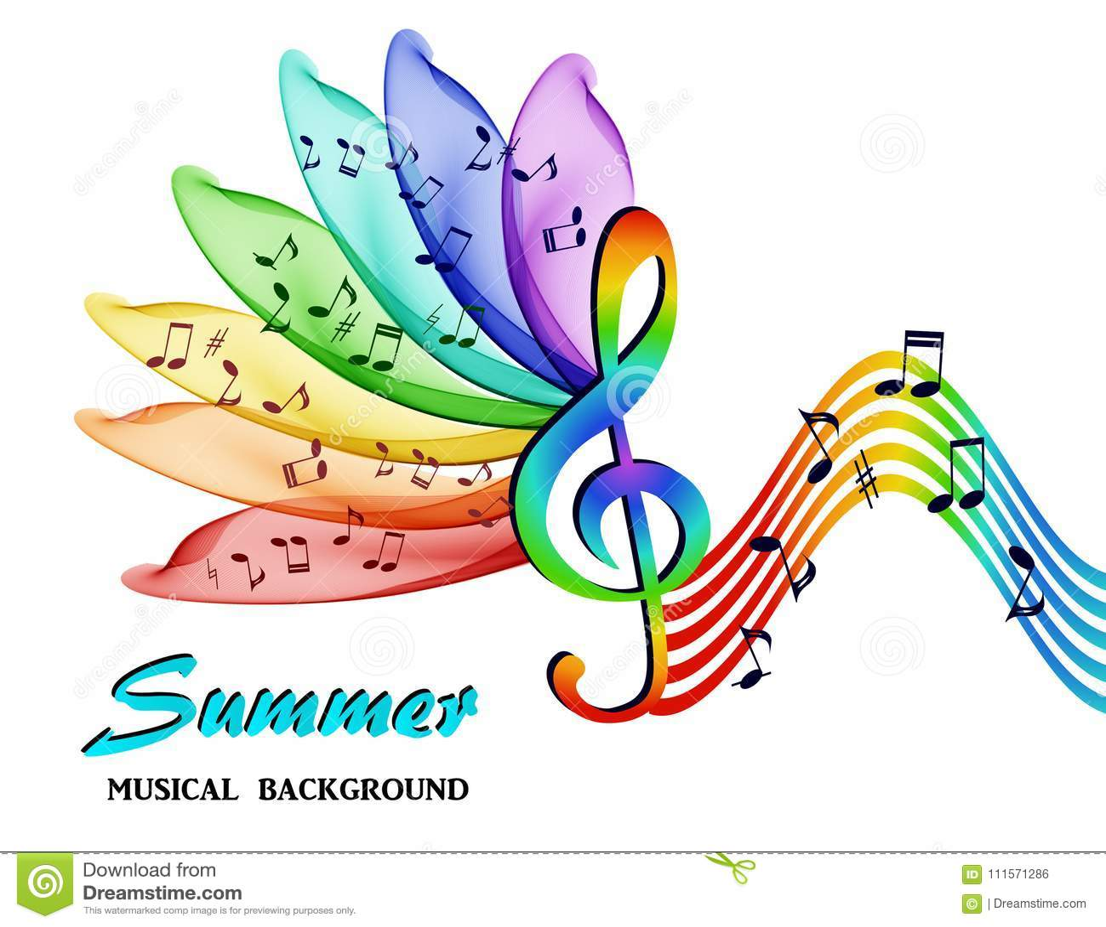 Las notas musicales sobre un fondo de un arco iris abstracto florecen