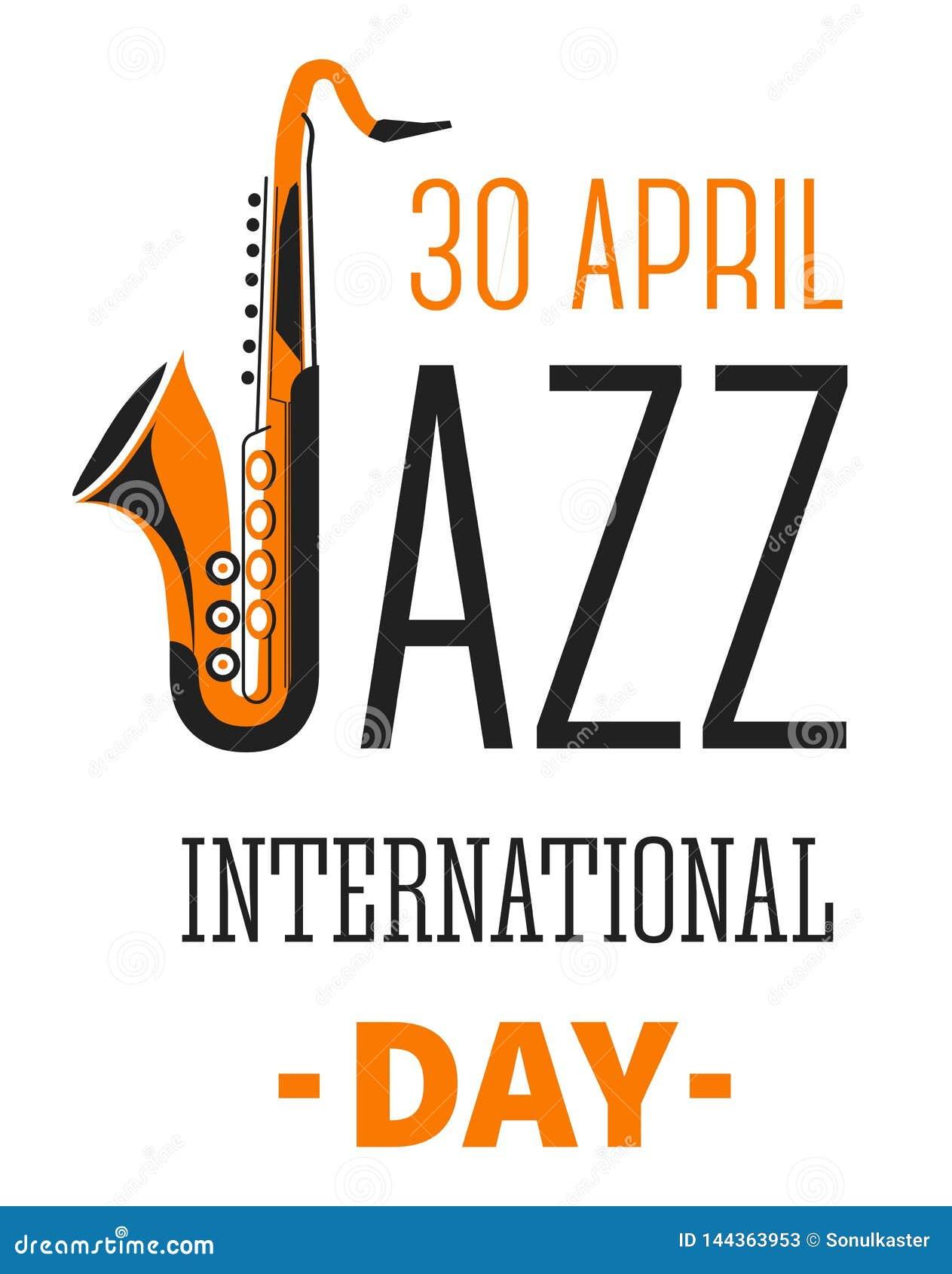 Las notas y los instrumentos musicales aislaron vector internacional del día del festival de jazz de los iconos