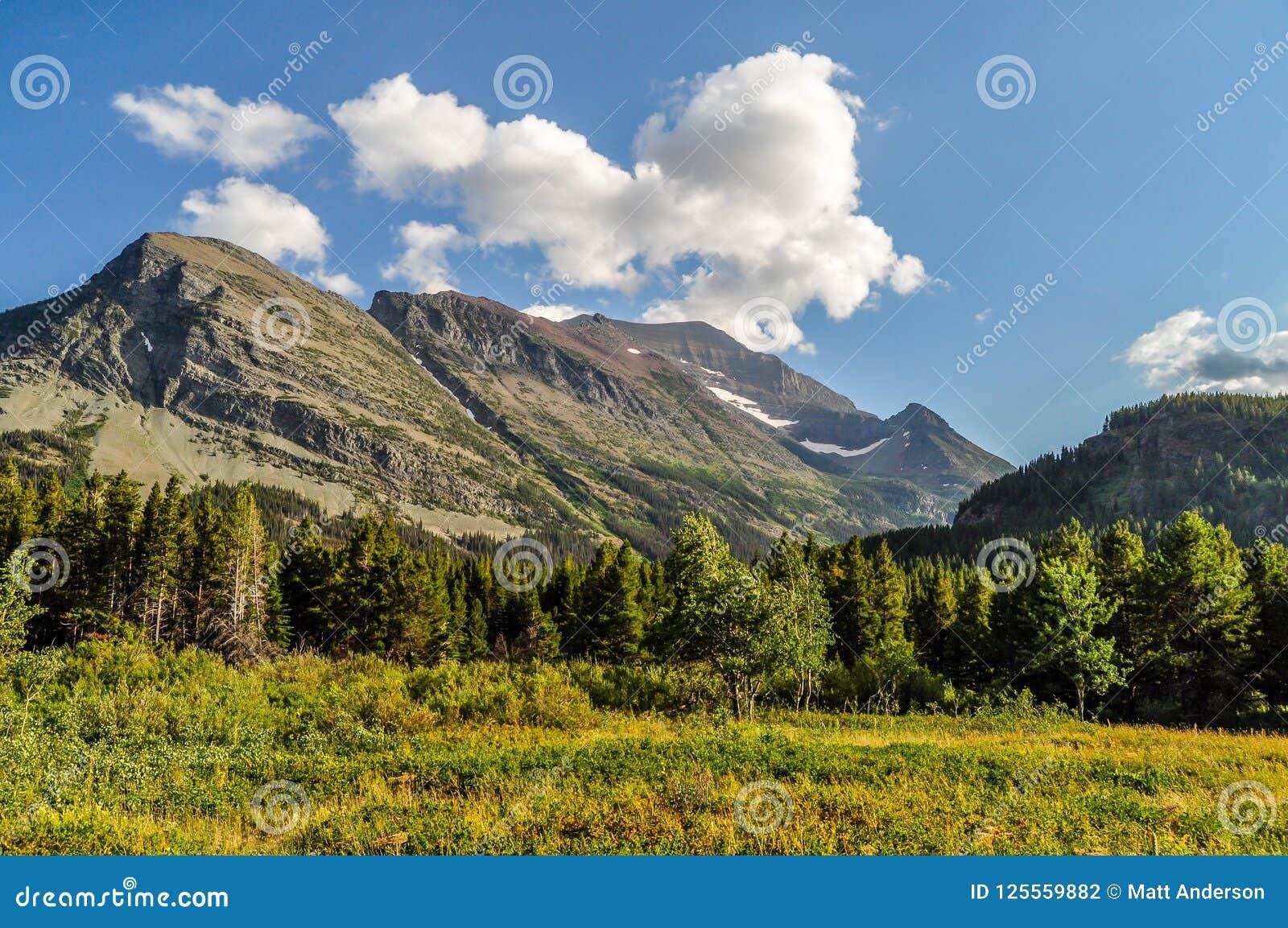 Las nubes blancas viajan a través de los cielos grandes sobre Parque Nacional Glacier