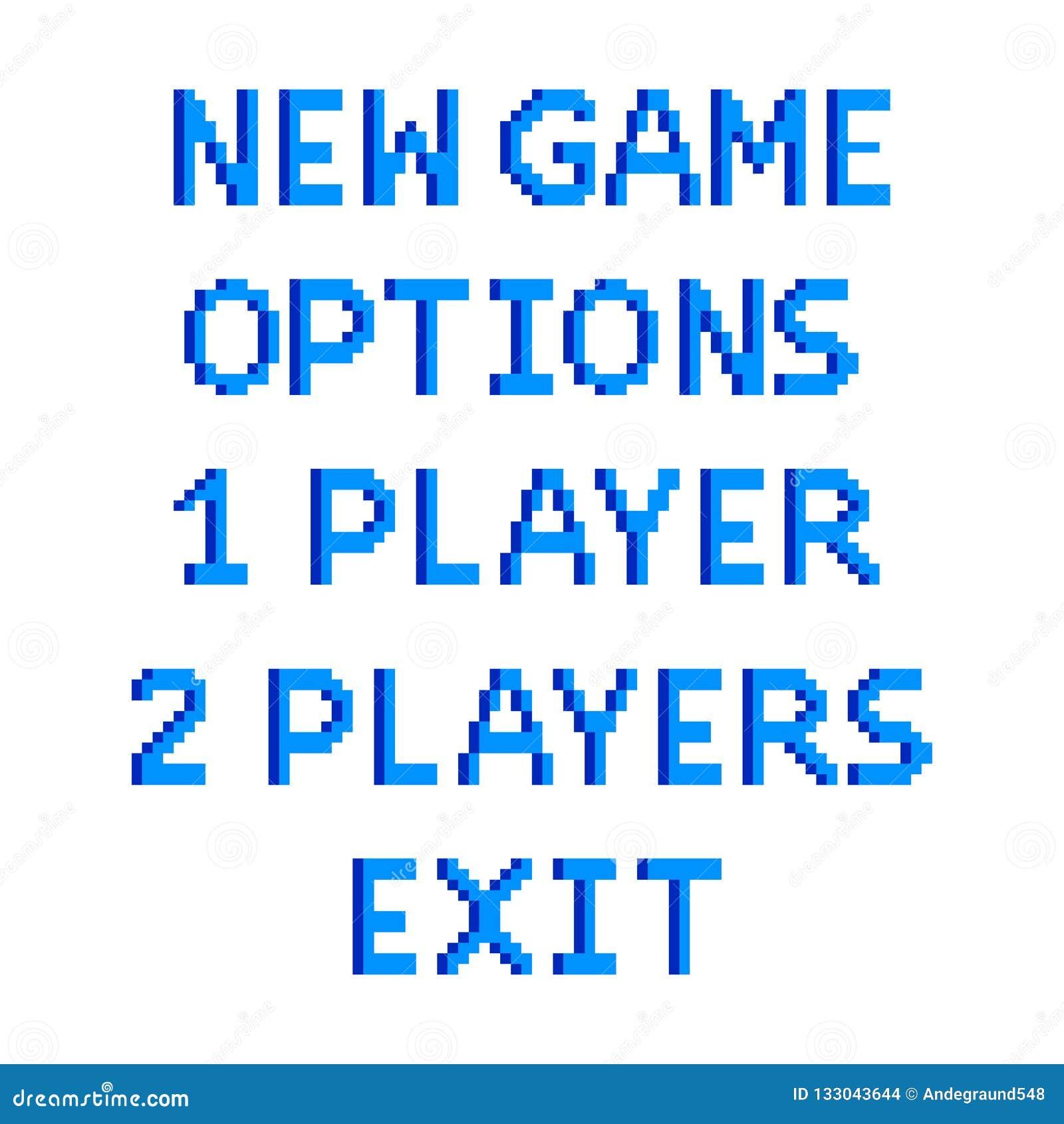 Las opciones del menú del juego del pixel mandan un SMS a vector aislado ejemplo detallado