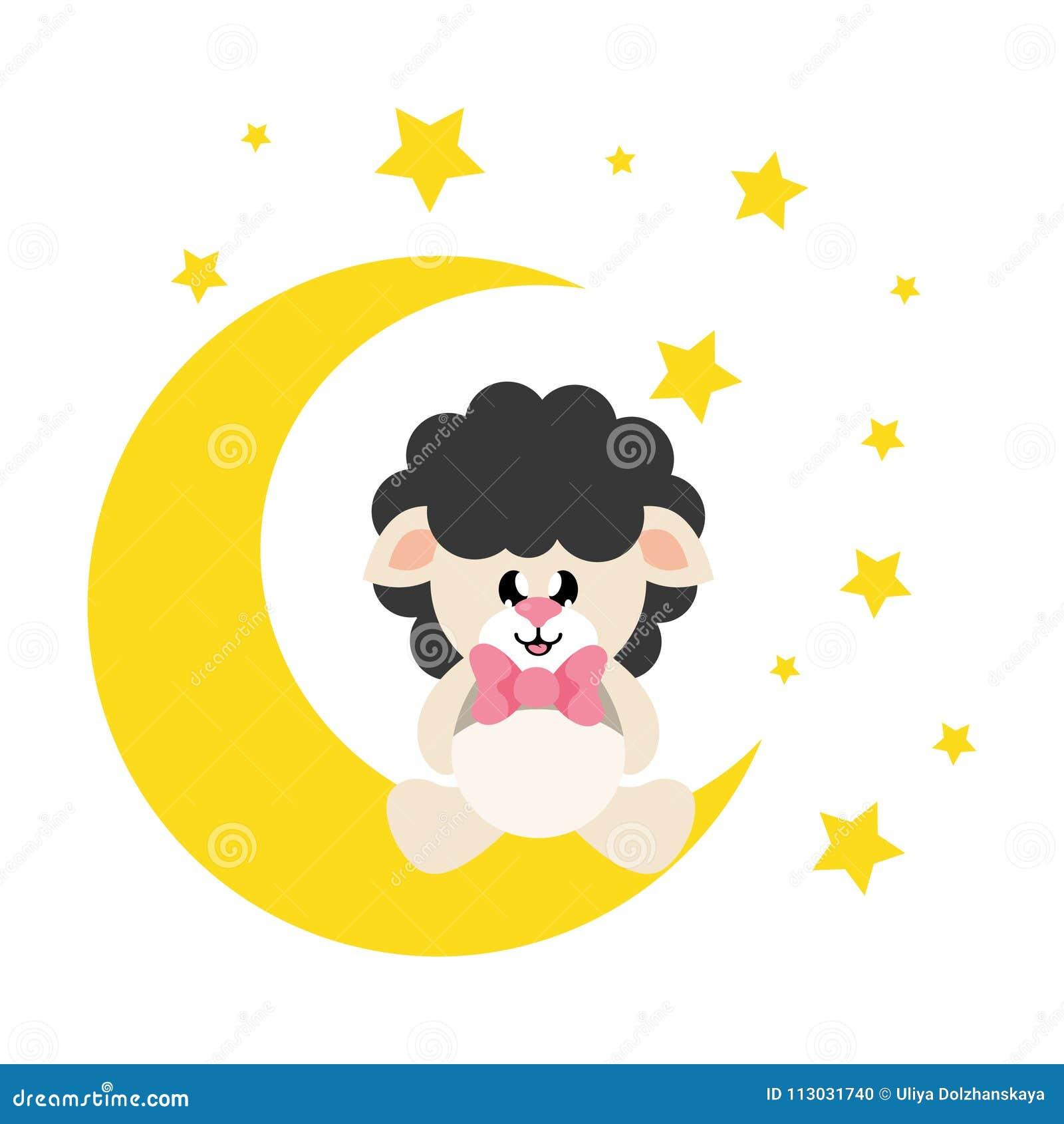 Las ovejas lindas de la historieta se ennegrecen con el lazo que se sienta en la luna