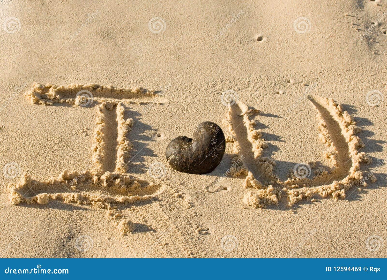 La Palabra Te Amo Escrito En La Arena: Las Palabras Te Amo Writed En La Playa De La Arena