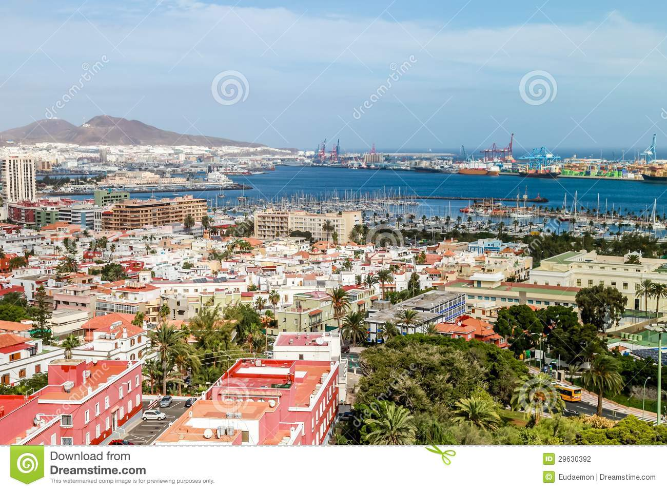 Skyline of Las Palmas de Gran Canaria. A cargo harbour and a marina on ...