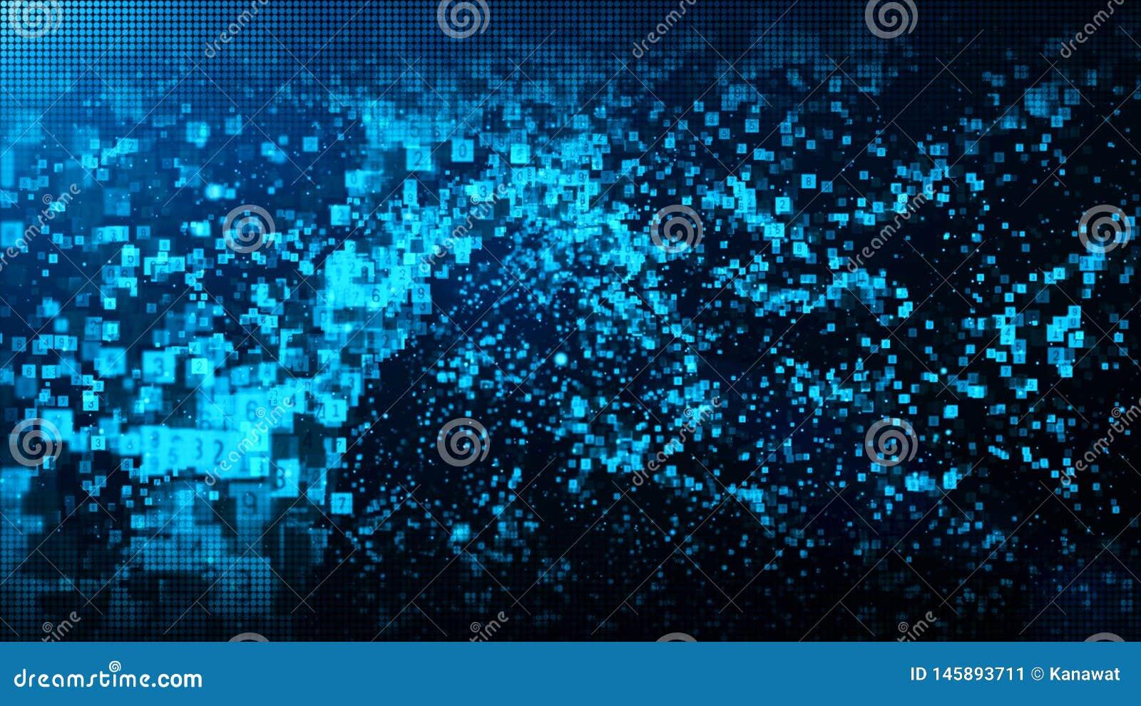 Las part?culas digitales del color azul abstracto agitan con polvo y fondo de los n?meros