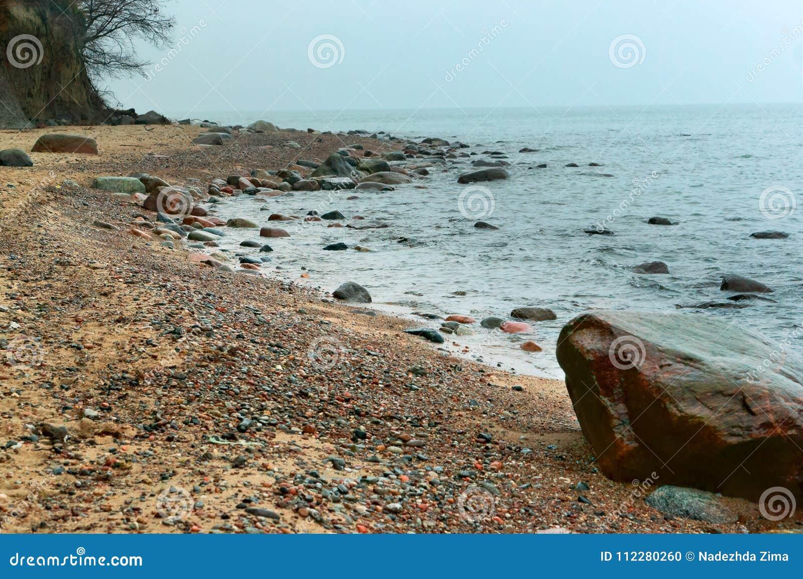Las pequeñas piedras en la costa, las ondas bajas corren en la costa de mar, mar agitan en la playa, una tormenta en el mar Bálti