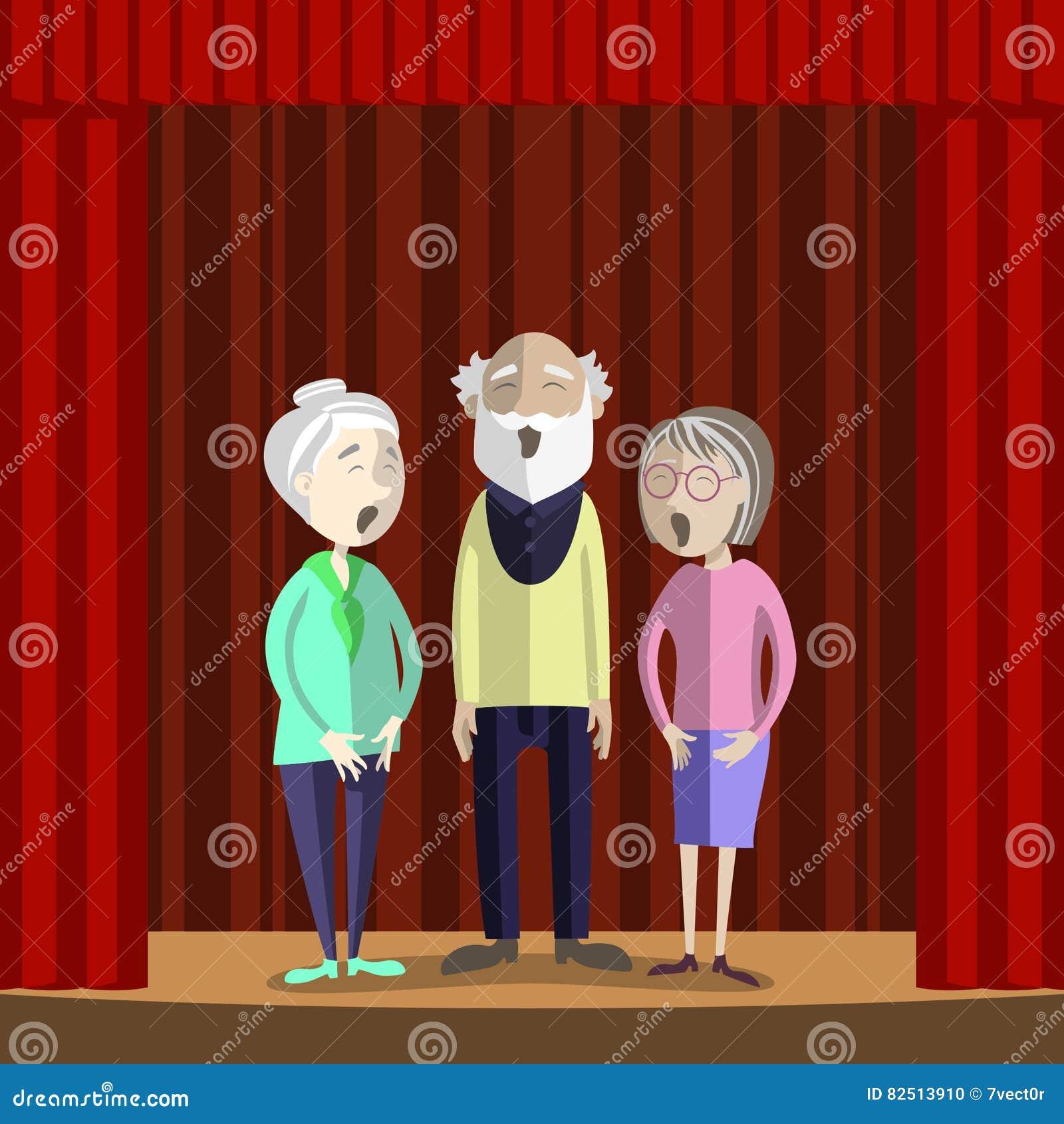 Las personas mayores cantan en la etapa del teatro aficionado
